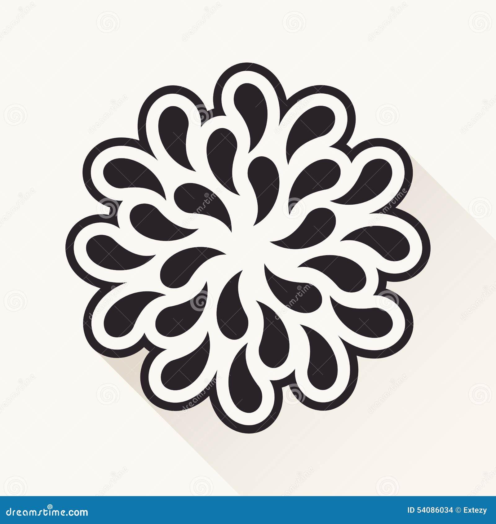 Vector uitstekende bloem De dalingen van silhouetinstallaties