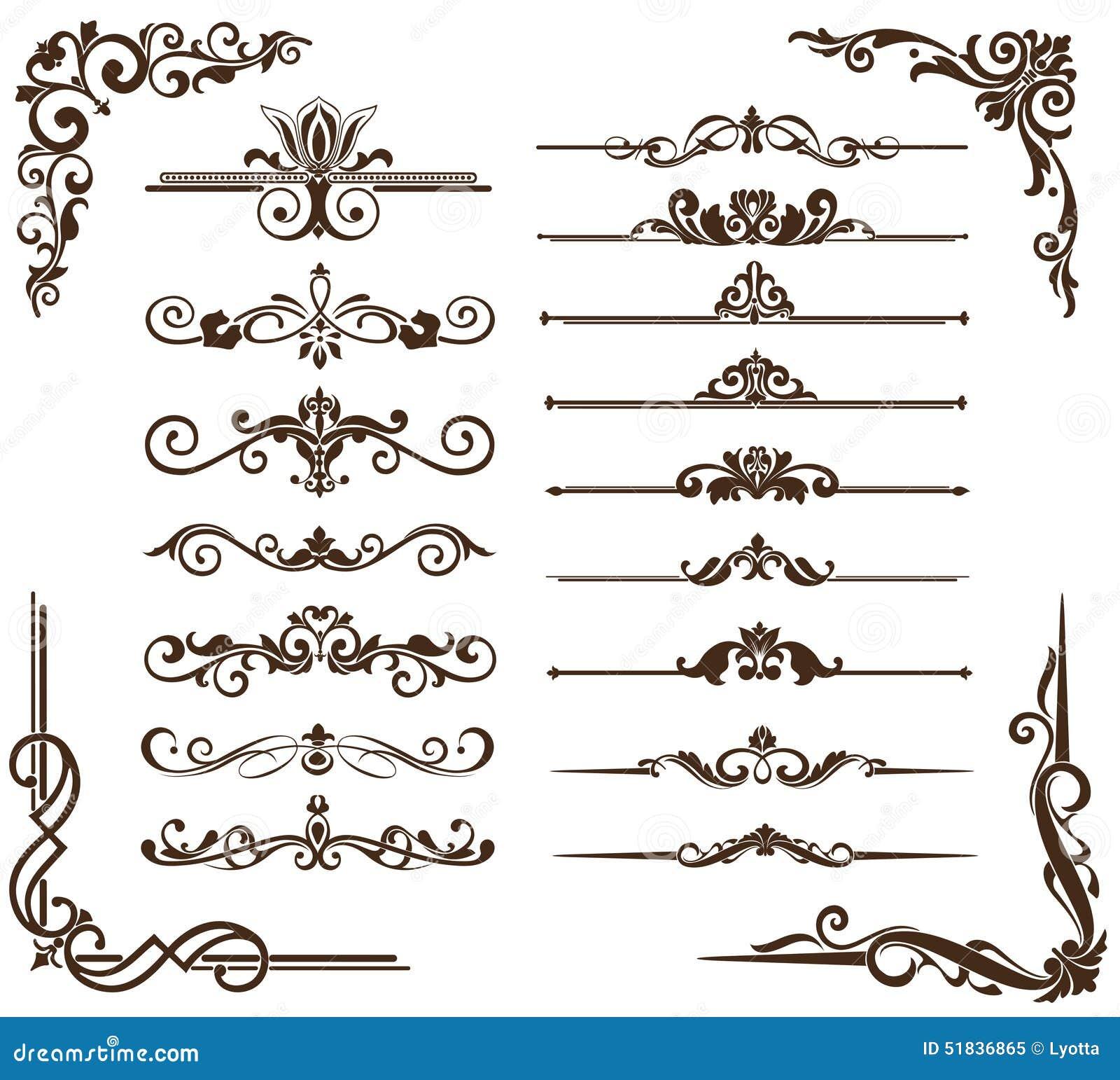 Vector uitstekende ornamenten, hoeken, grenzen