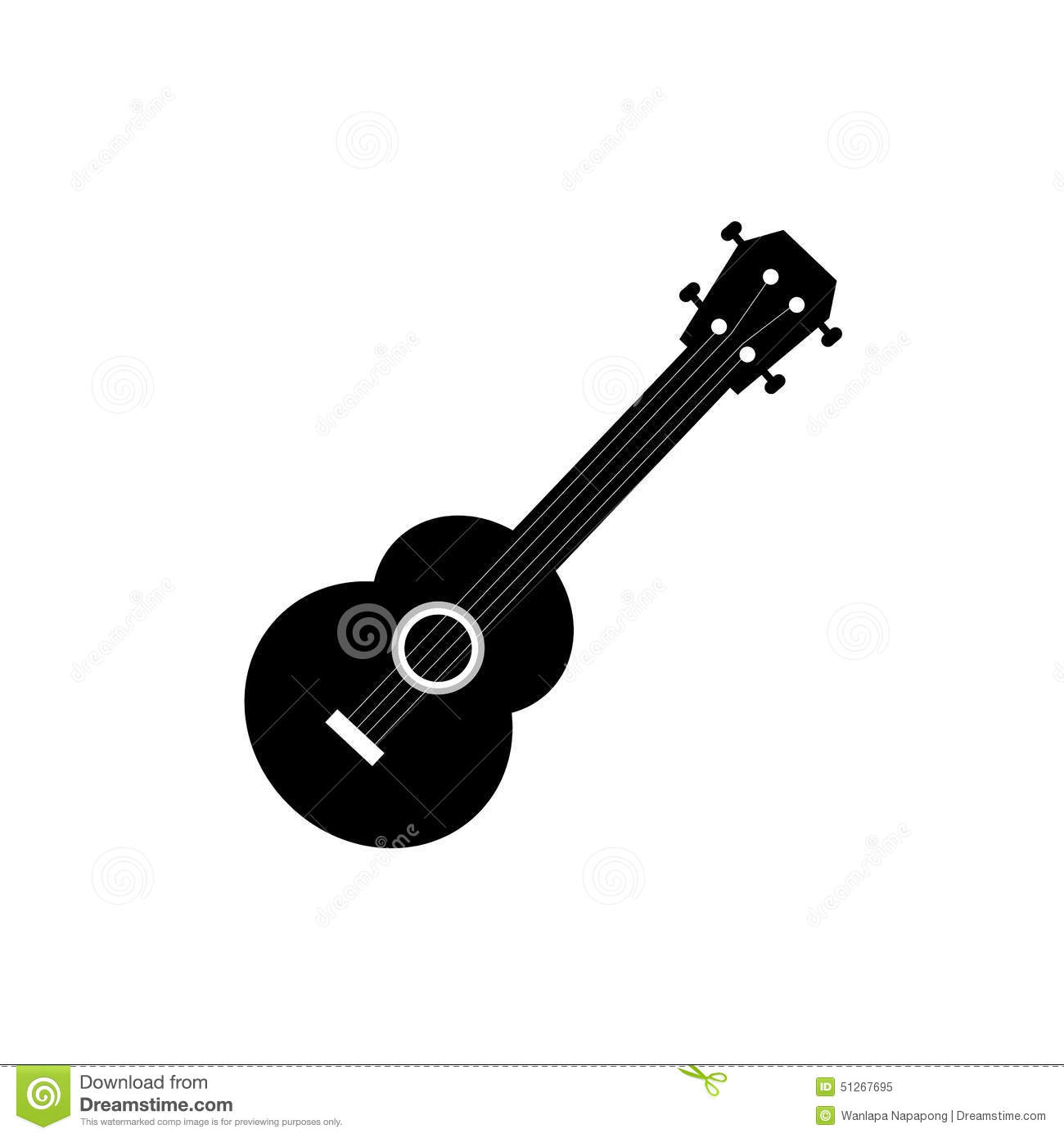 Vector Ukulele Symbol Stock Illustration Of Black 51267695 Together With How To String A Diagram On Note