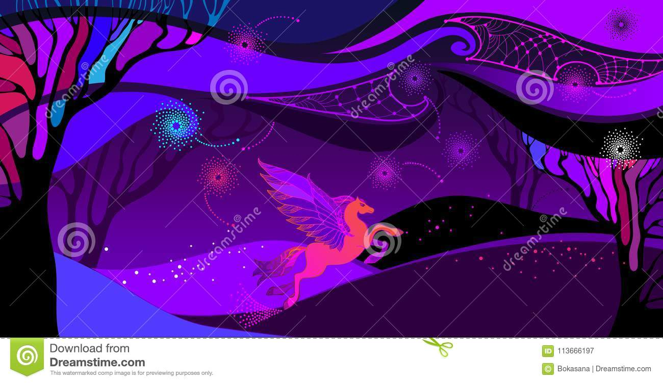 Vector Ultra violet landscape with mythology Pegasus in orange and pink. Ð¡omposition with space cloudy sky, field and trees.
