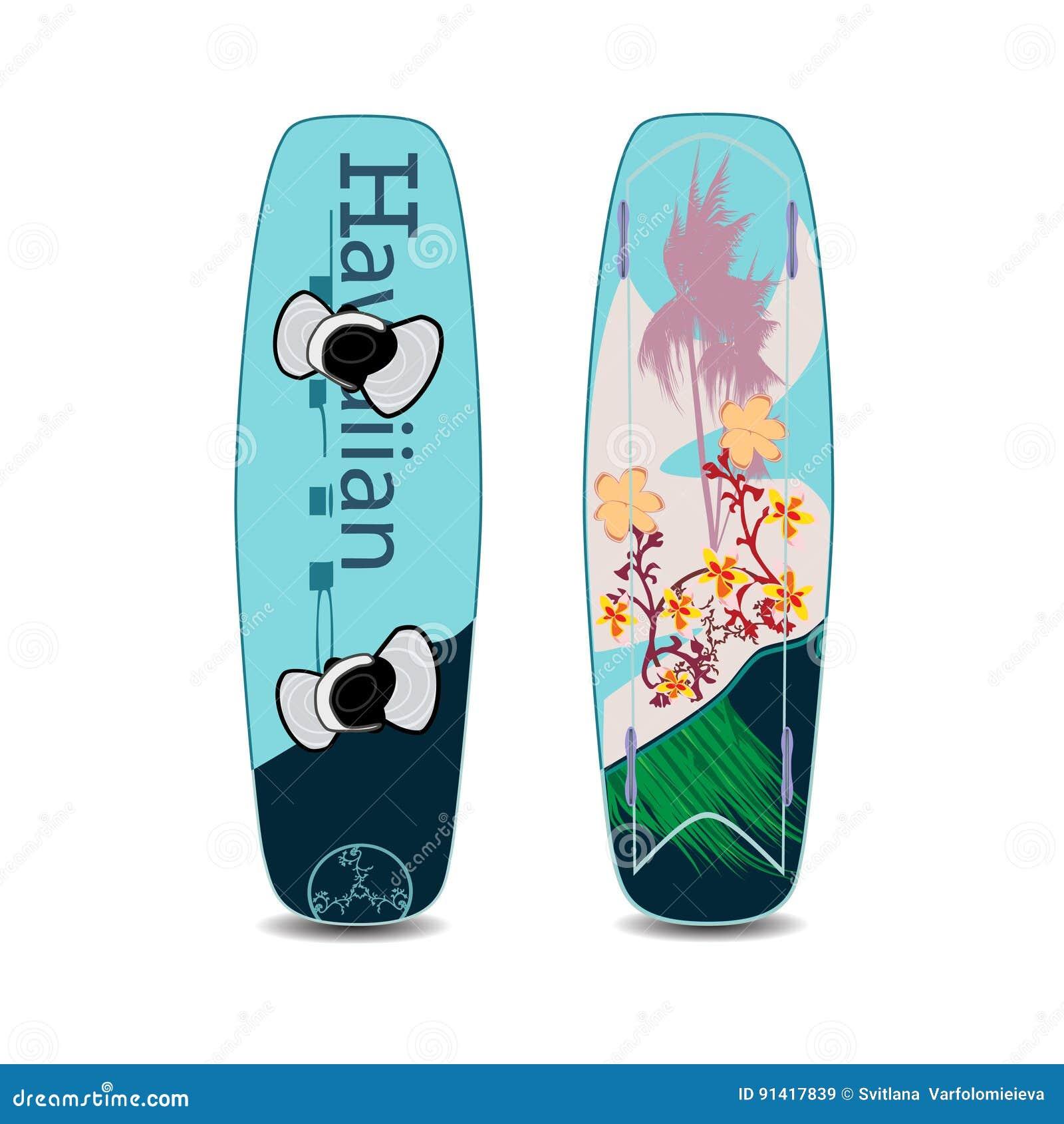Vector uma ilustração de dois lados do wakeboard no estilo liso