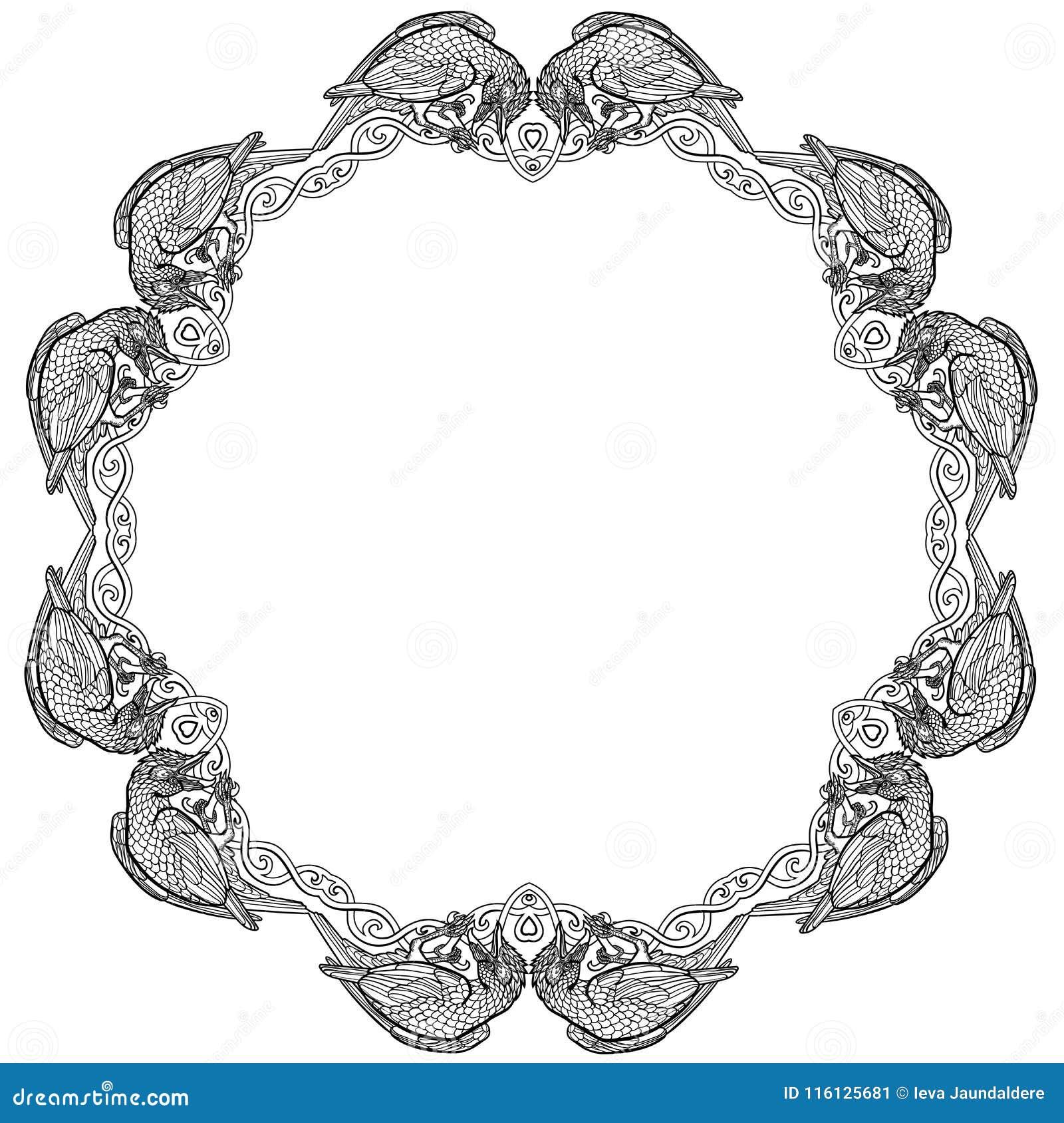 Vector uma ilustração do quadro celta do nó de doze corvos preto e branco