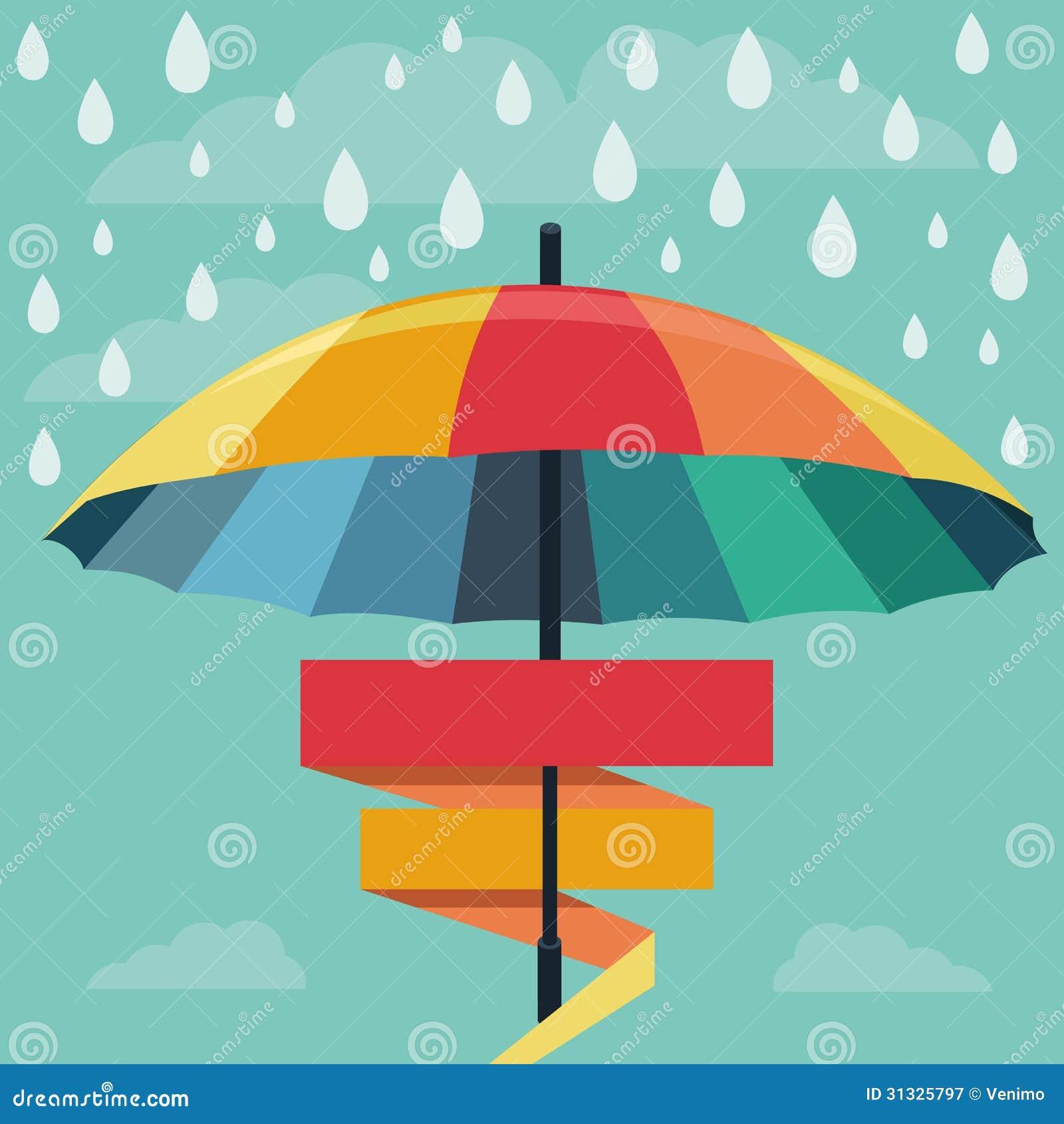 Vector Umbrella And Rain Drops In Rainbow Colors Stock