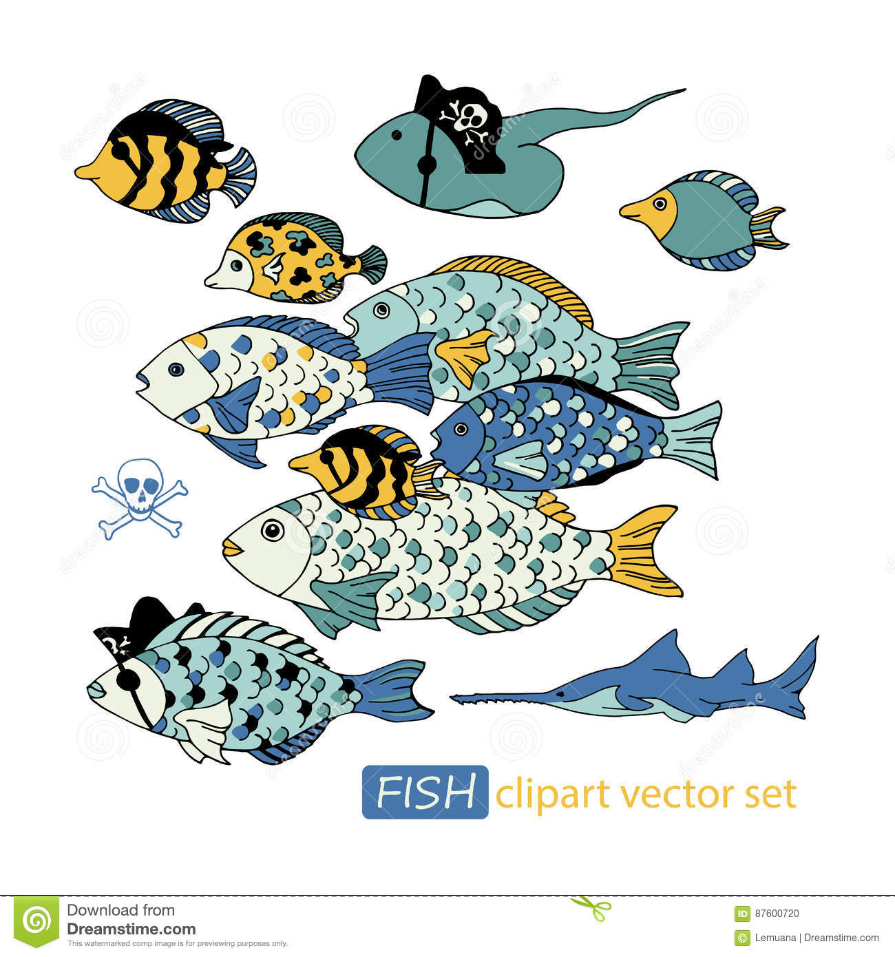 Vector Underwater Sea Life Pirate Animals Clipart Set ...