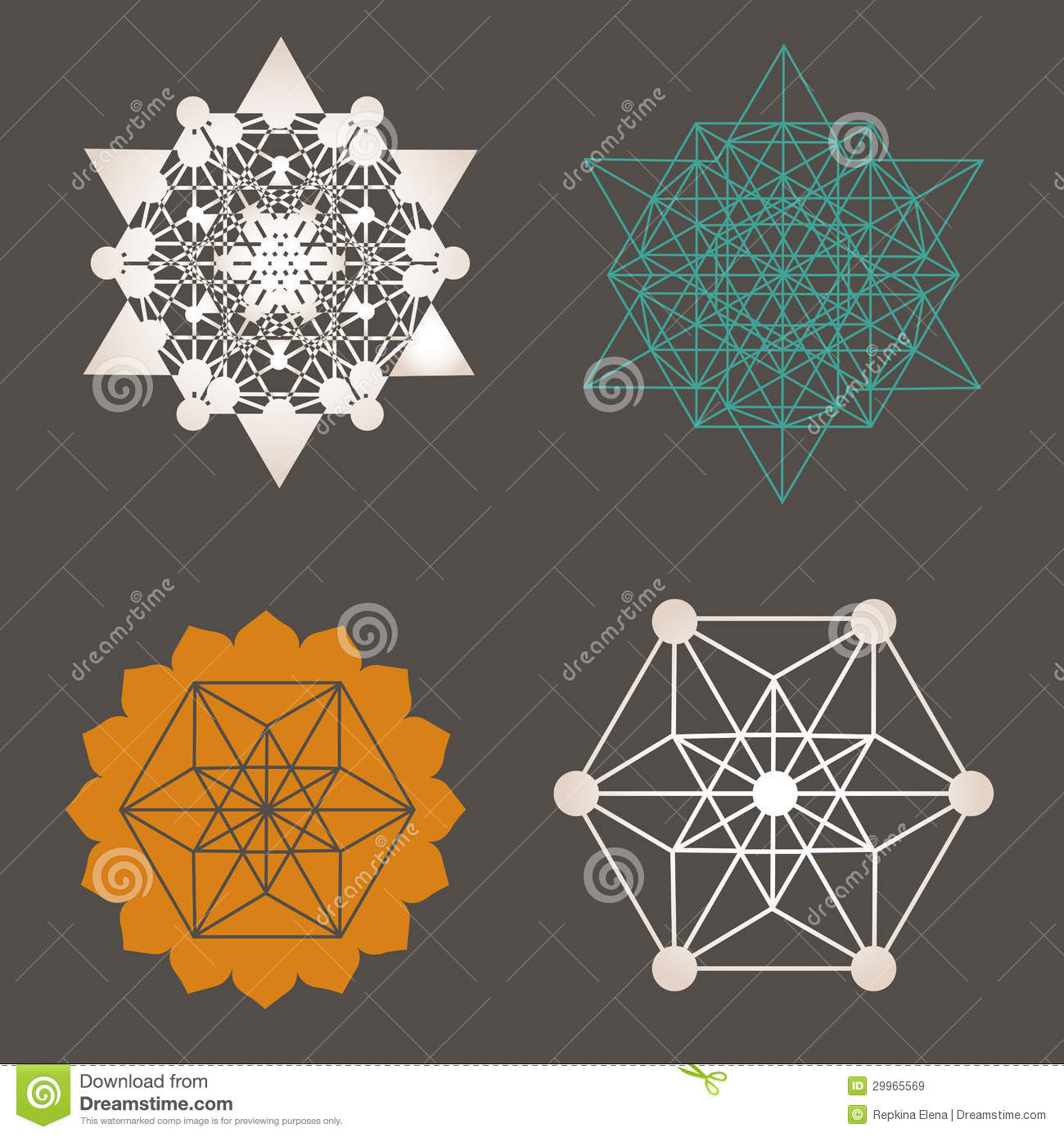 Sacred Geometry Unique Design Collection Stock Vector