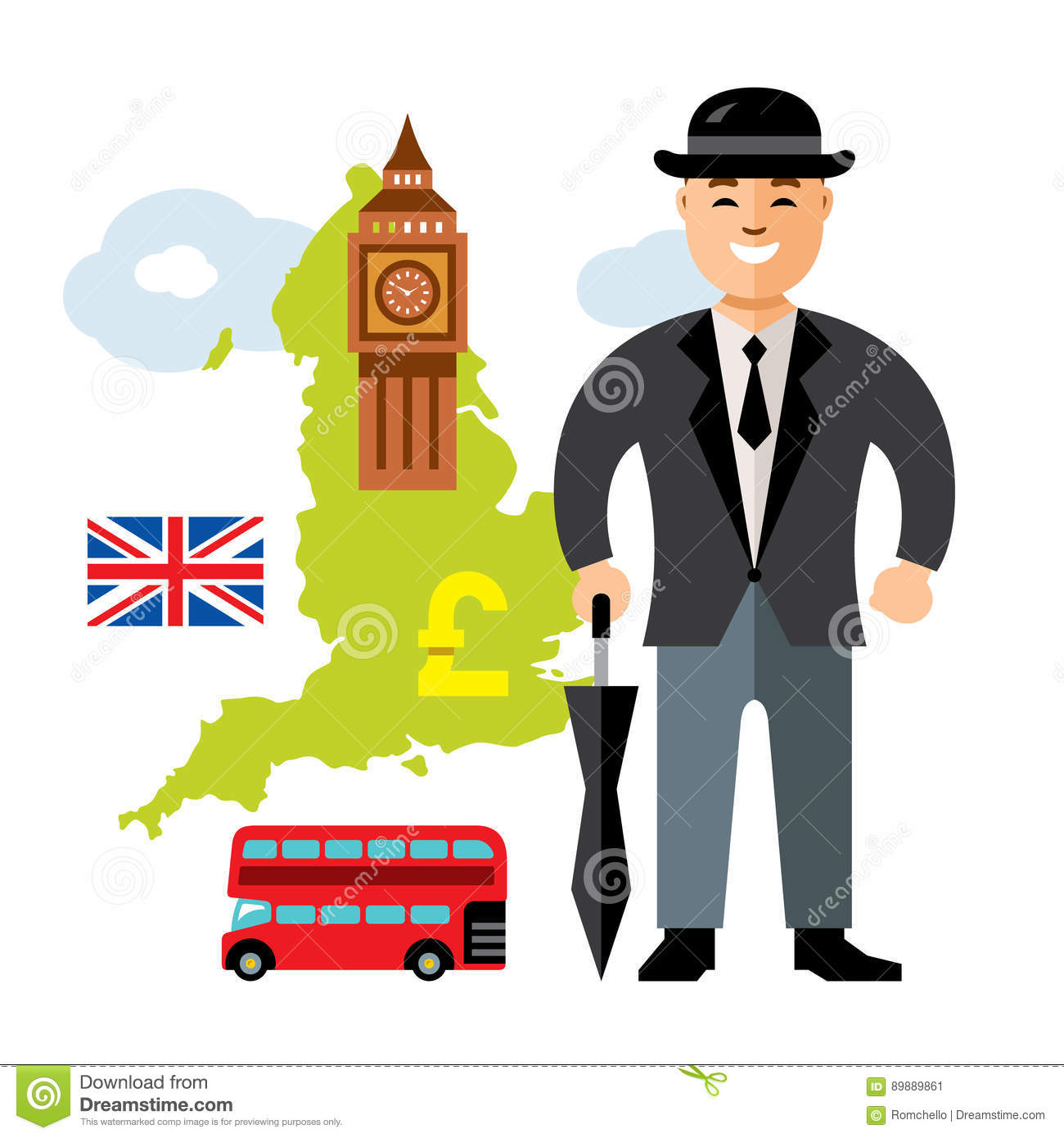 Vector United Kingdom Travel Concept Flat Style Colorful Cartoon