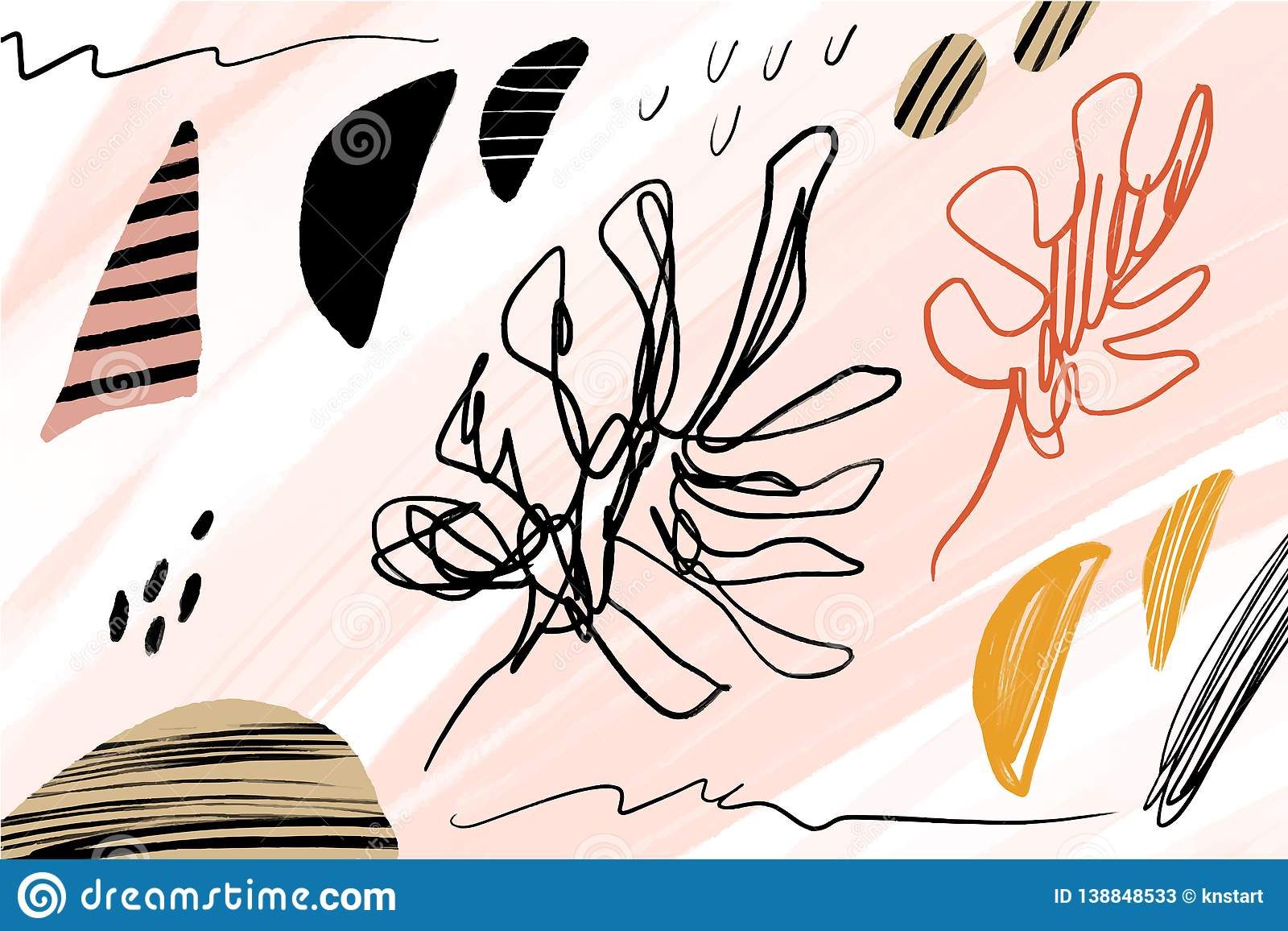 Vector Universal Floral Banner Or Header Tropical Leaves Modern Art Hand Drawn Brush Textures Stock Illustration Illustration Of Hipster Jungle 138848533 Leaves png & psd images with full transparency. dreamstime com