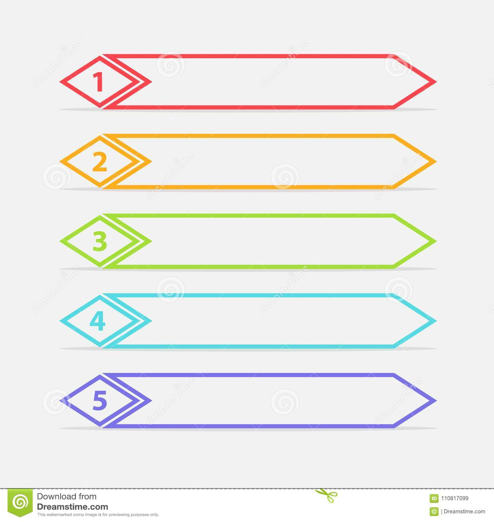 Vector uno due tre quattro cinque punti, progresso o insegne del posto con le etichette variopinte