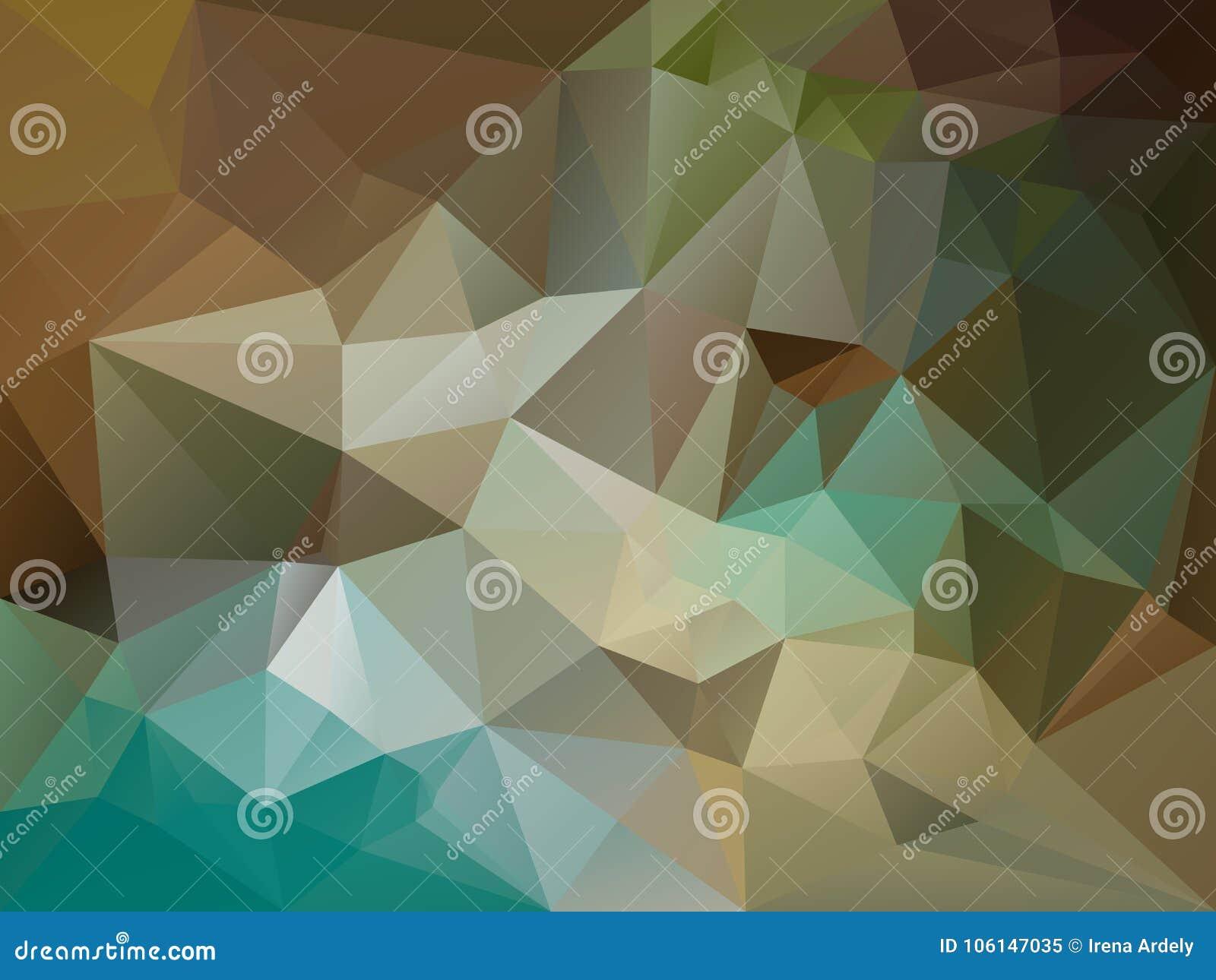 Vector unregelmäßigen Polygonhintergrund mit einem Dreieckmuster in Braunem, beige, kakifarbig, blau, Türkis, grüne Farbe