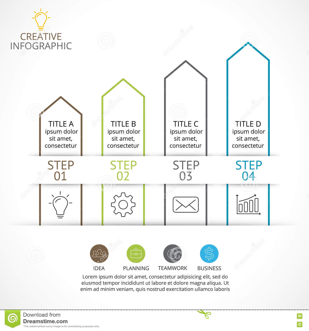 Vector Up Arrows Linear Infographic, Diagram Stairs Chart