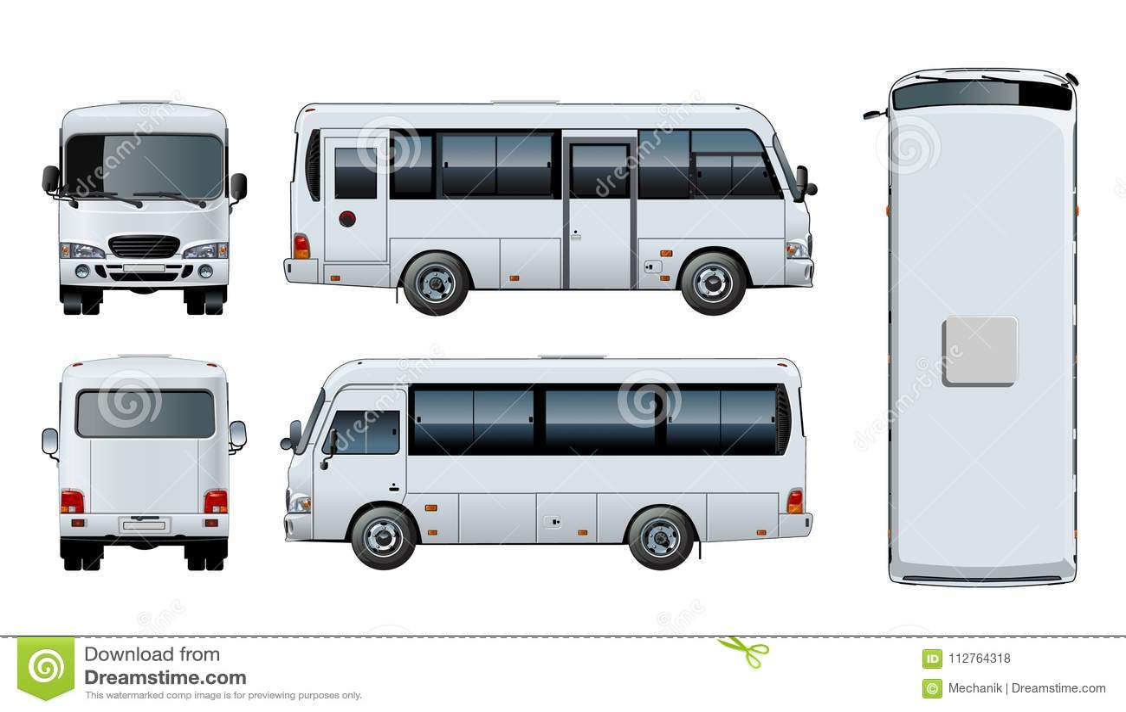 bccea3e49ac3 Vector Urban Passenger Mini-bus Mock-up Stock Vector - Illustration ...