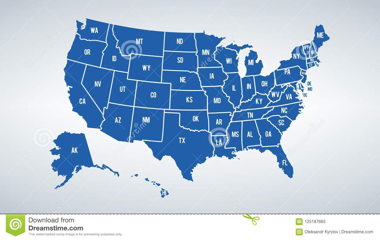 Vector USA Colors Map With Borders Of States And Shorts Name ...