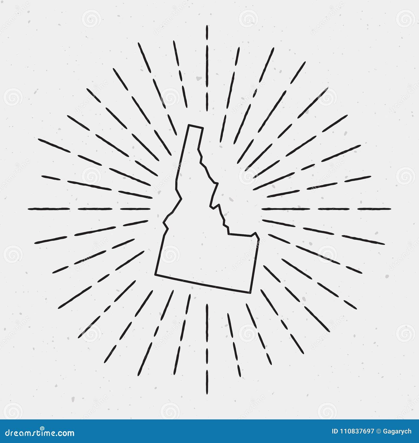 Vector USA Map Outline With Retro Sunburst Border. Stock ...