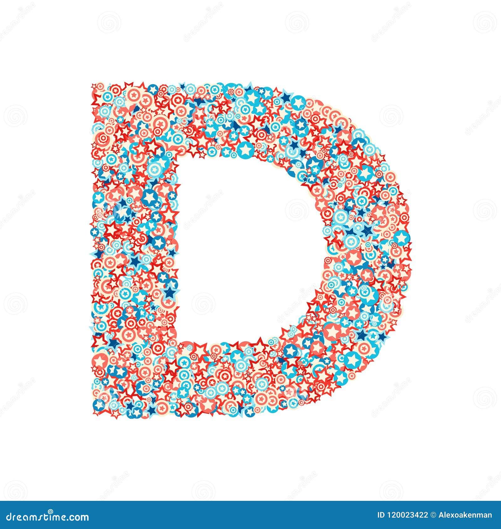 Celebration Letter   Vector Usa National Holiday And Celebration Font Letter D Stock