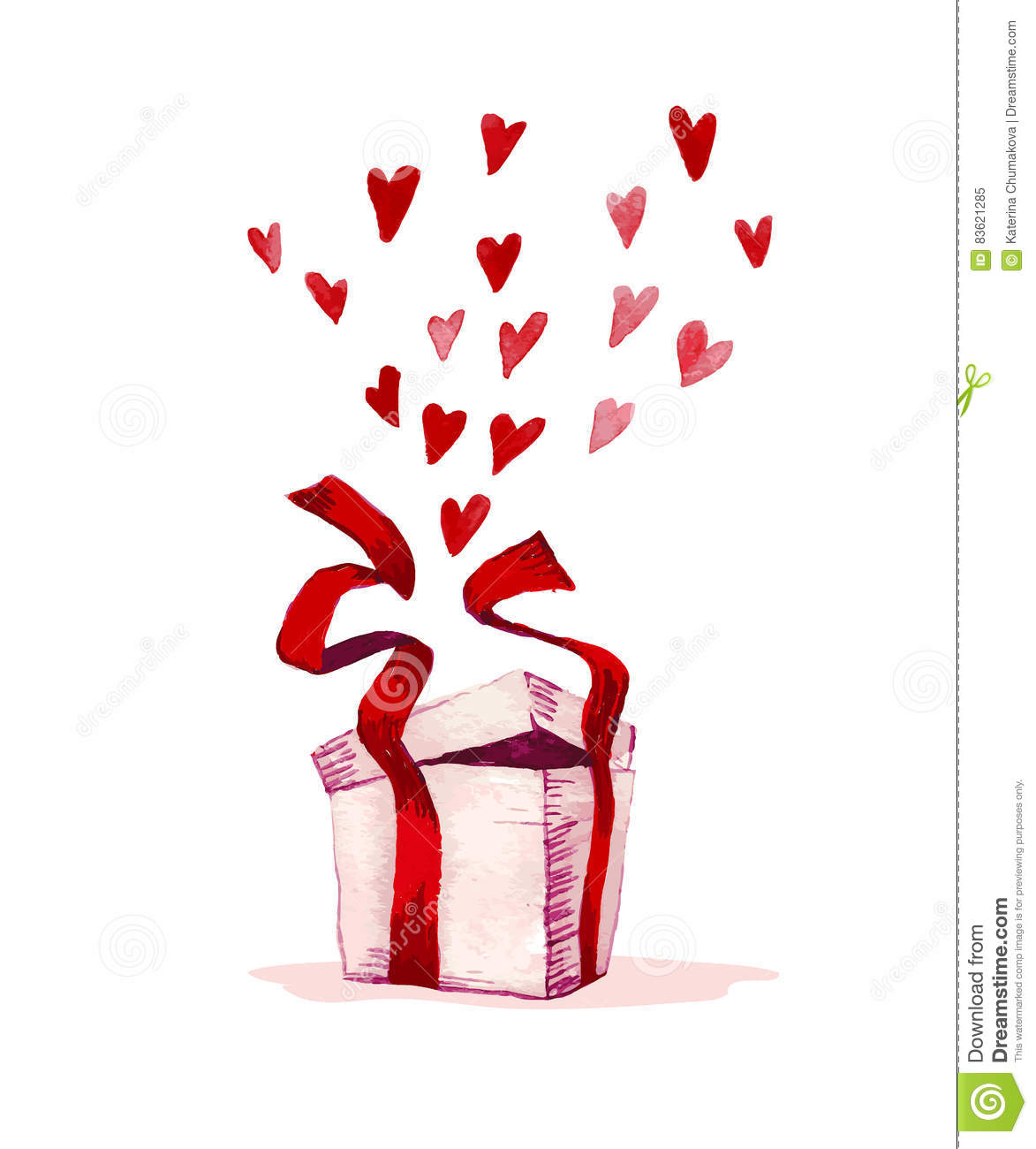 Vector Valentine Day Hand Drawn Artistic Gift Box Stock Illustration