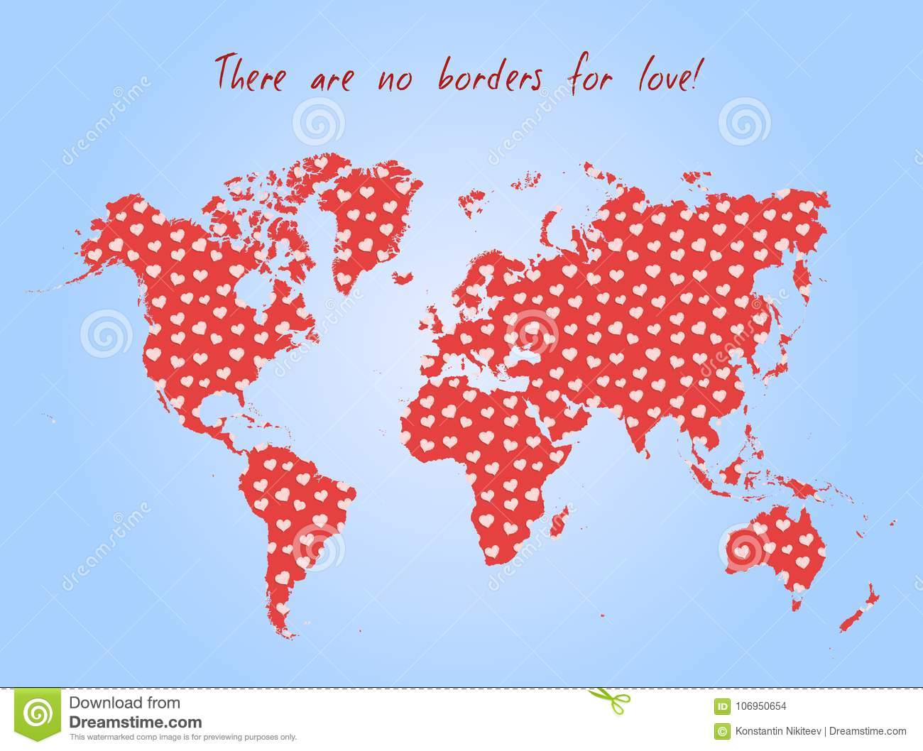 Vector Valentine Day Postcard - World Map With Love Pattern Stock ...