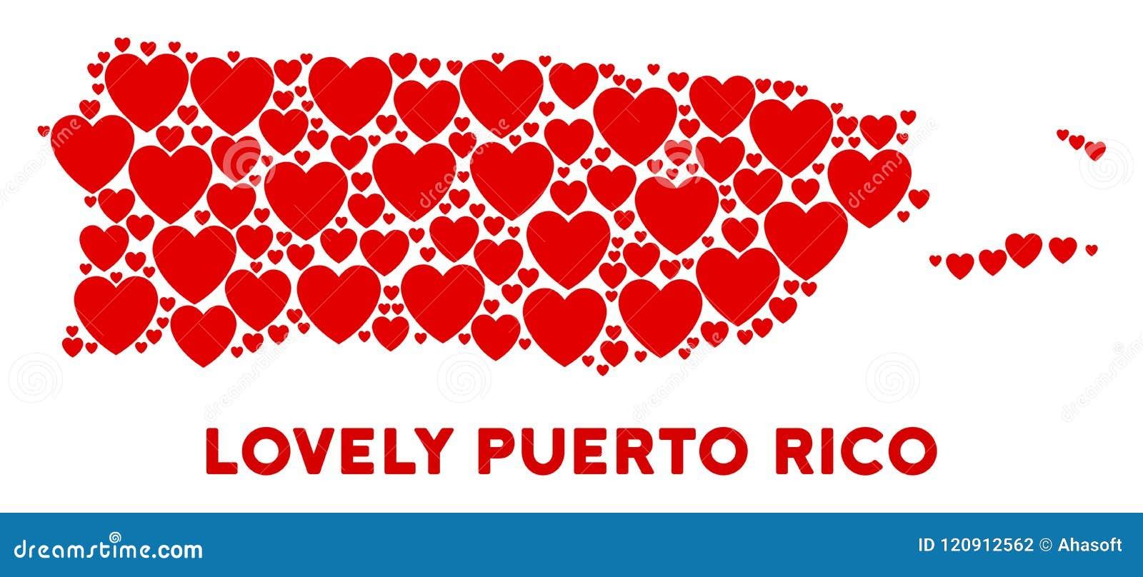 Vector Valentine Puerto Rico Map Composition Of Hearts Stock Vector