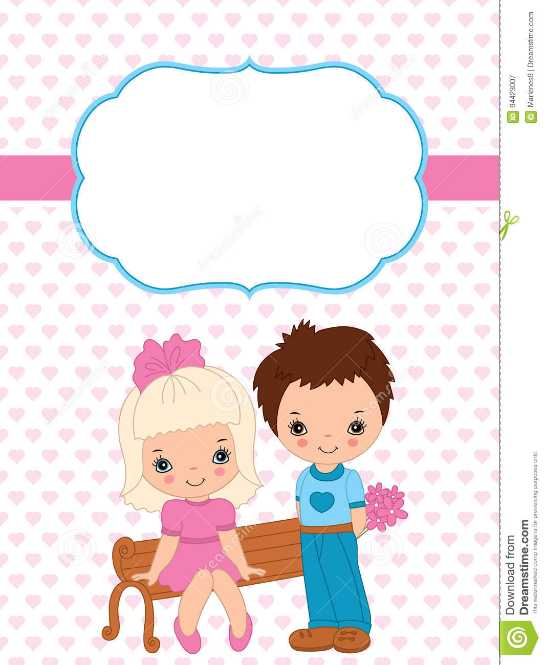 Vector Valentine S Card Template With Cute Little Kids On