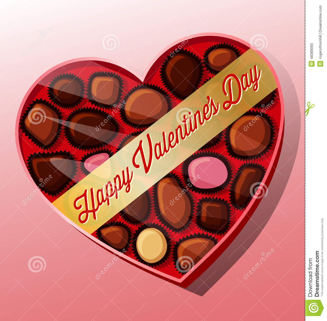 Vector Valentine S Day Candy Heart Shaped Box Stock Vector