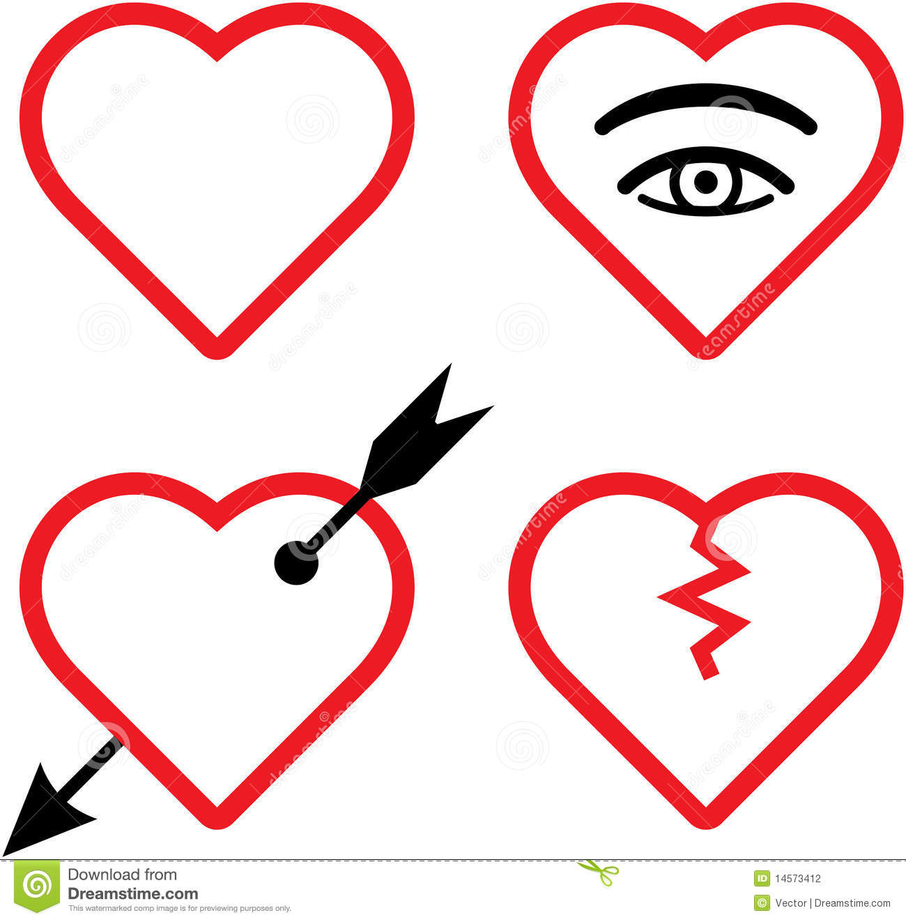 Vector Valentines And Broken Hearts Illustration Stock Photography ...