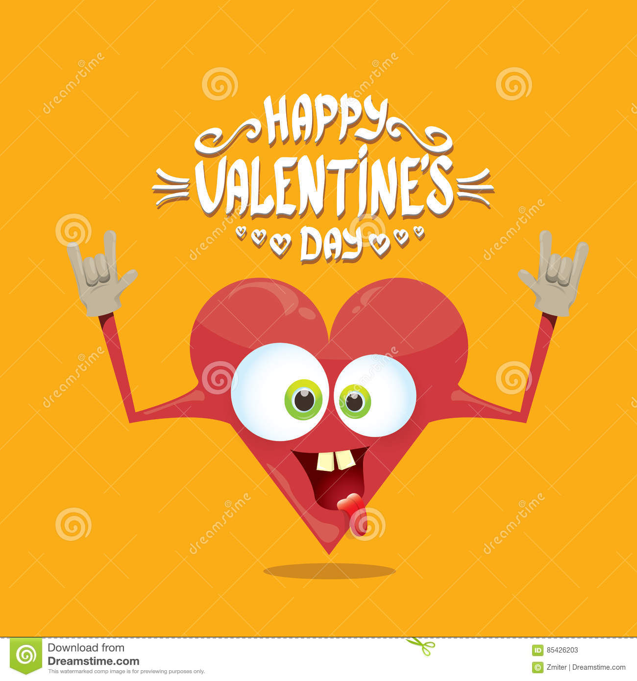 Vector valentines day card with cartoon heart