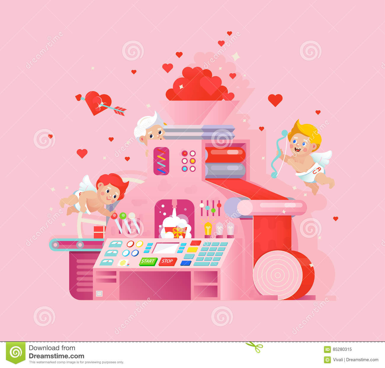 Vector Valentines Day Greeting Card With Cupids Workplace Love Gift