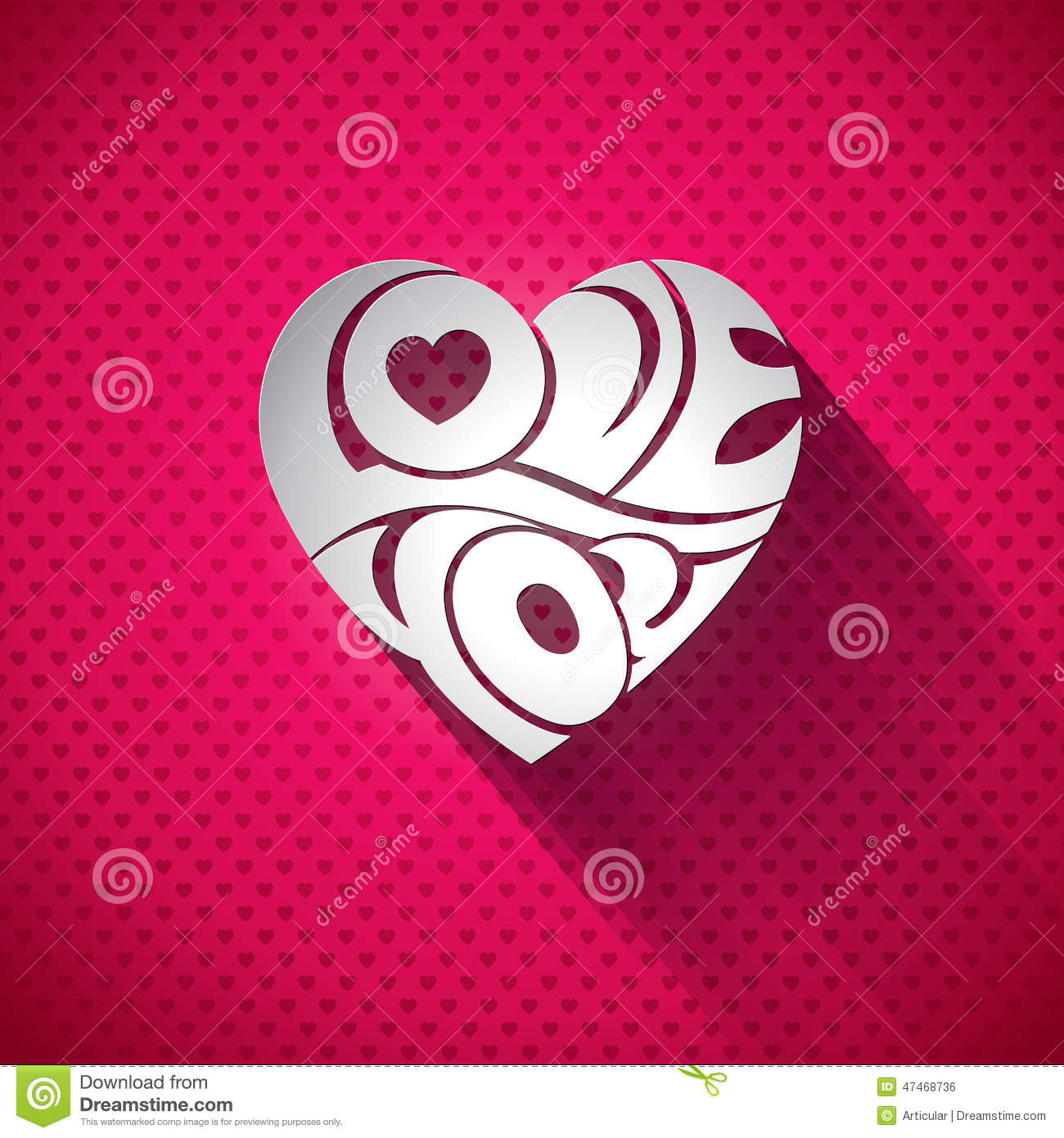 Vector Valentines Day illustration with 3d Love You typography design on heart background.
