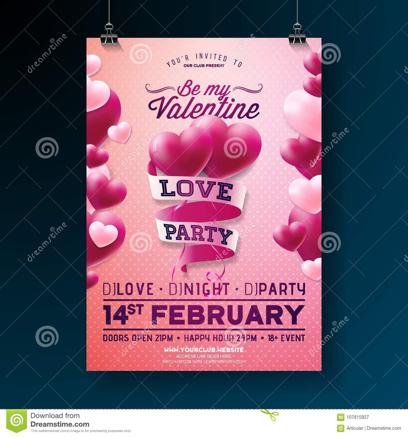 Vector Valentines Day Party Flyer Design With Typography And Balloon