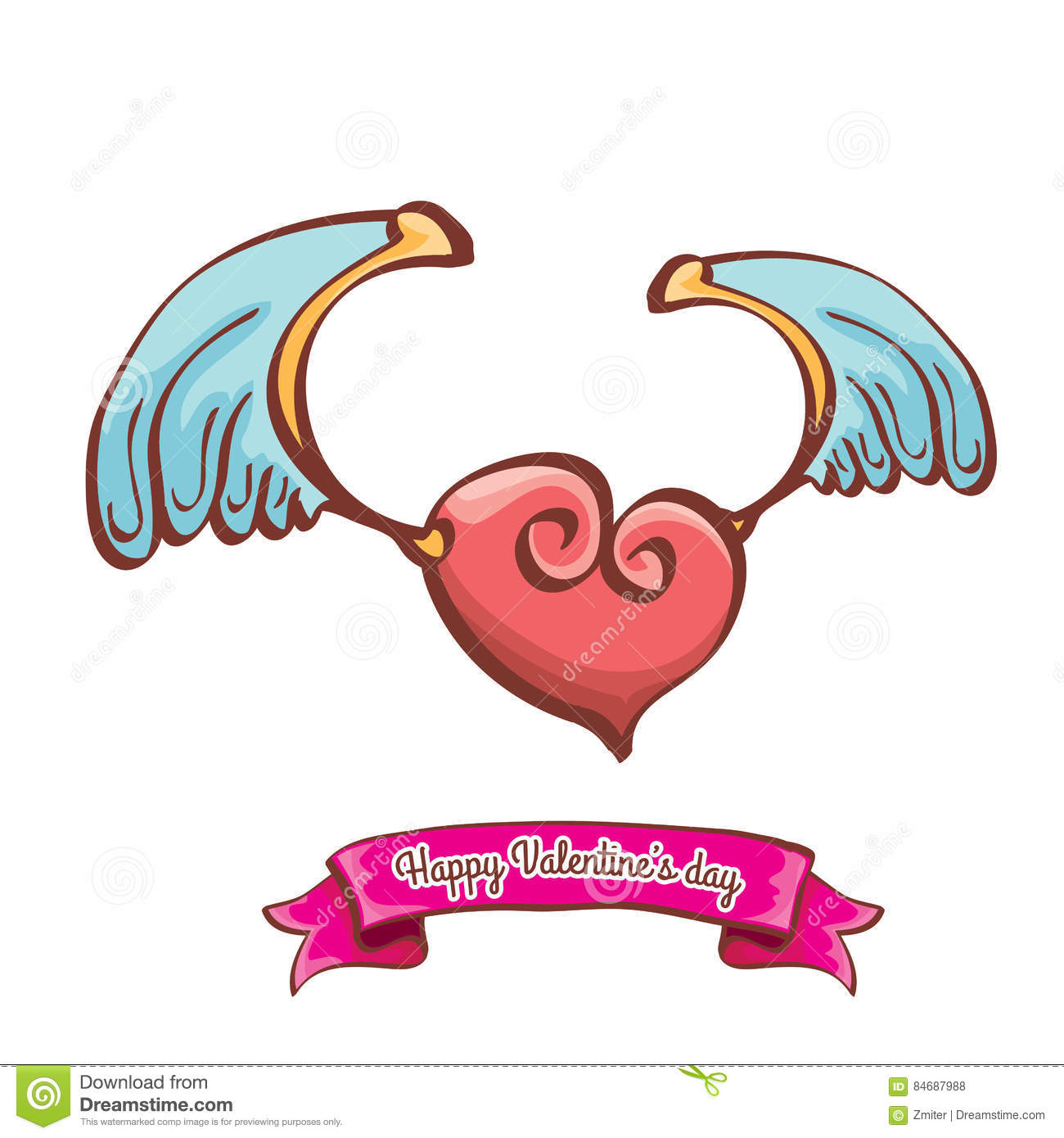 Vector Valentines Day Pink Heart With Angel Wings Stock Vector