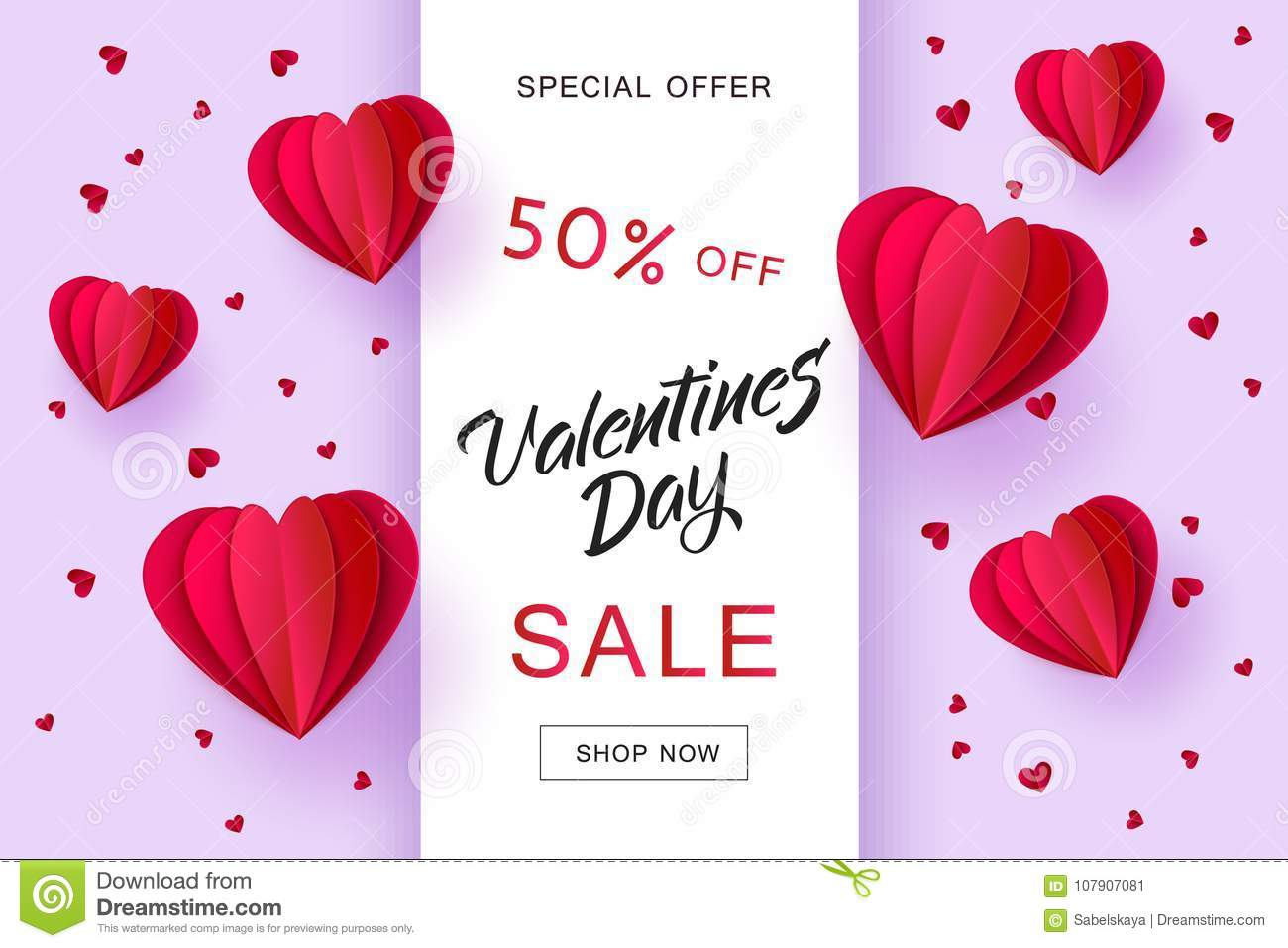 vector valentines day sale paper origami heart stock vector