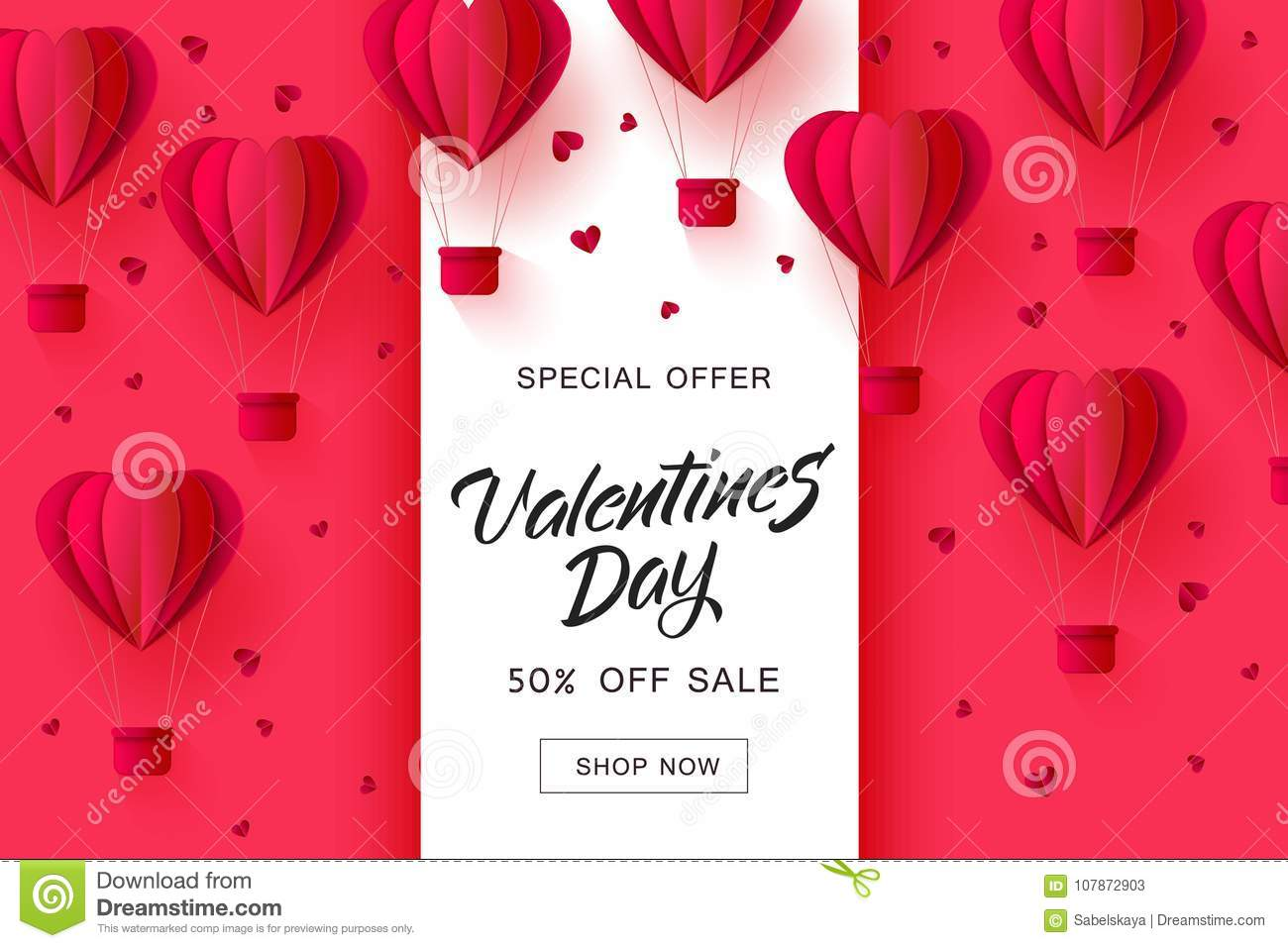 db15cdf5f1 Vector valentines day sale card template with origami paper hot air  balloons in heart shape background. Holiday illustration on red background  for poster