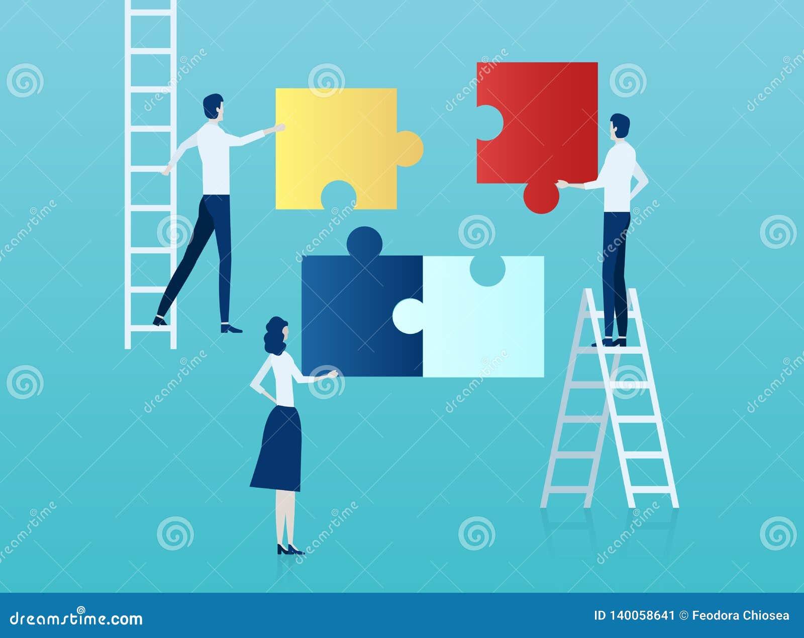 Vector van bedrijfsmensen die een raadsel assembleren