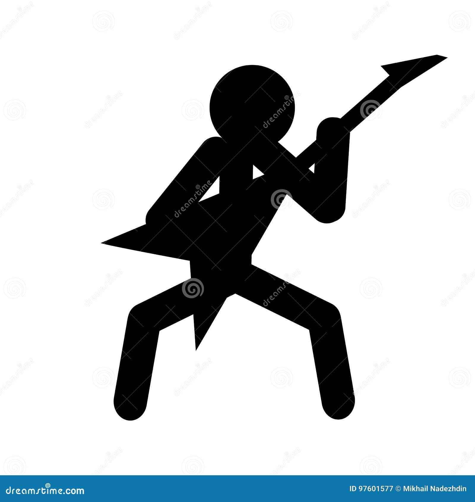 Vector van de de mensen de speelgitaar van het stokcijfer Musicus en gitaar