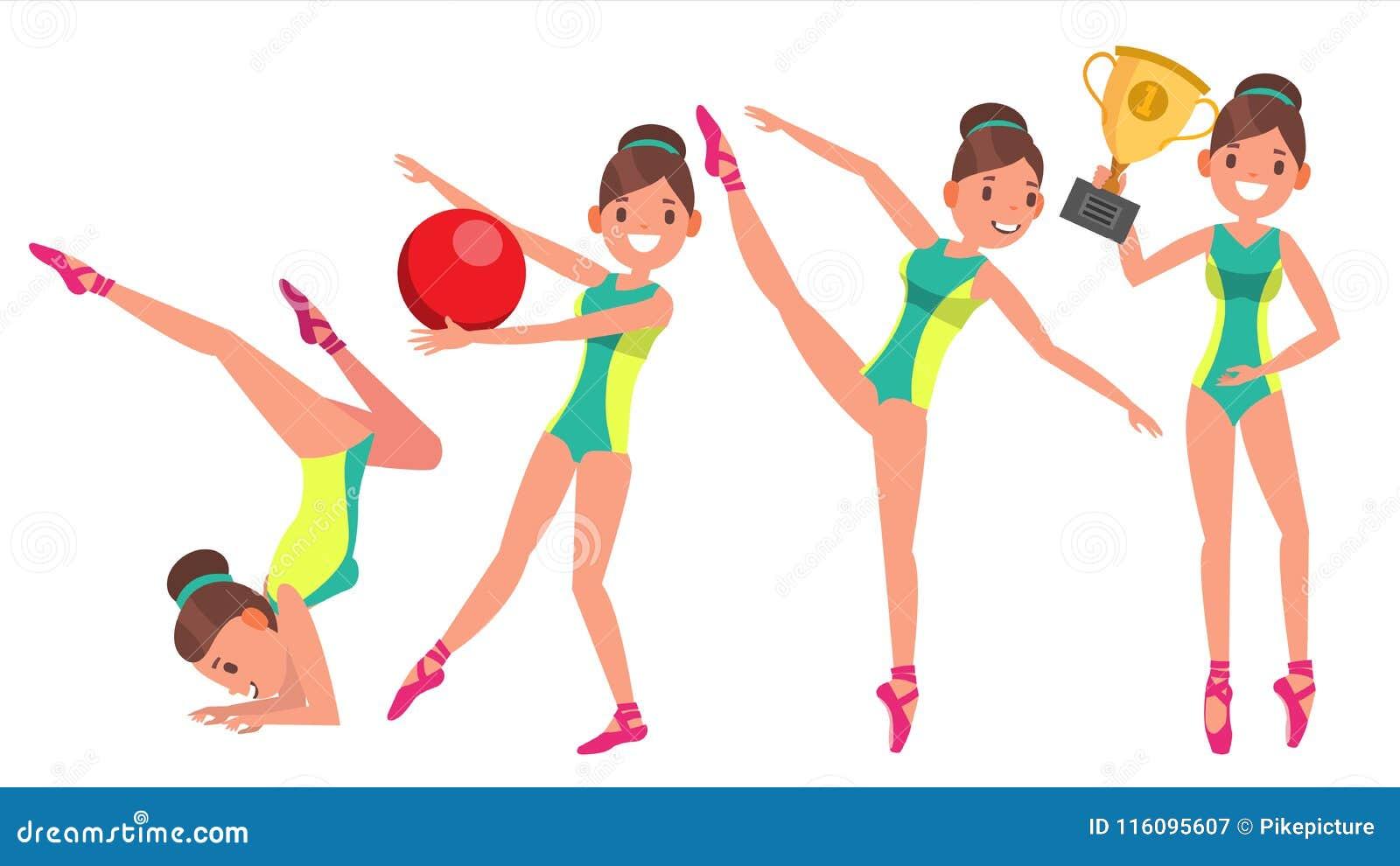 Vector van de gymnastiek de Vrouwelijke Speler Gymnastiek- Band, Hoepel, Foelie slank dans In Actie De Illustratie van het beeldv