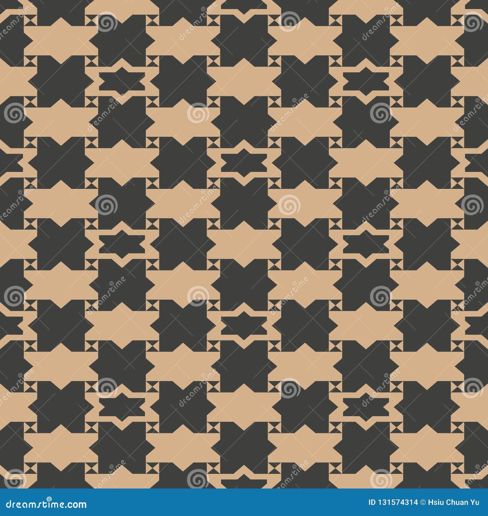 Vector van de van het achtergrond damast naadloos retro patroon de meetkunde dwarskader sterveelhoek Het elegante ontwerp van de