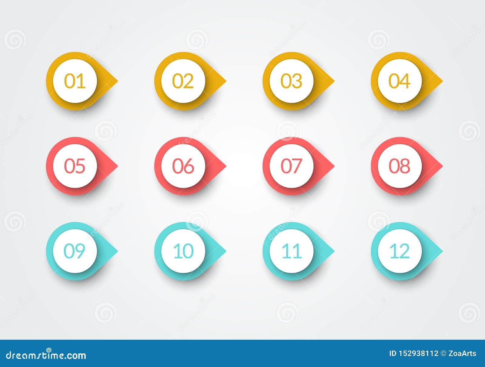 Vector van de het Punt Retro Kleur van de Aantalkogel 3d Tellers 1 tot 12