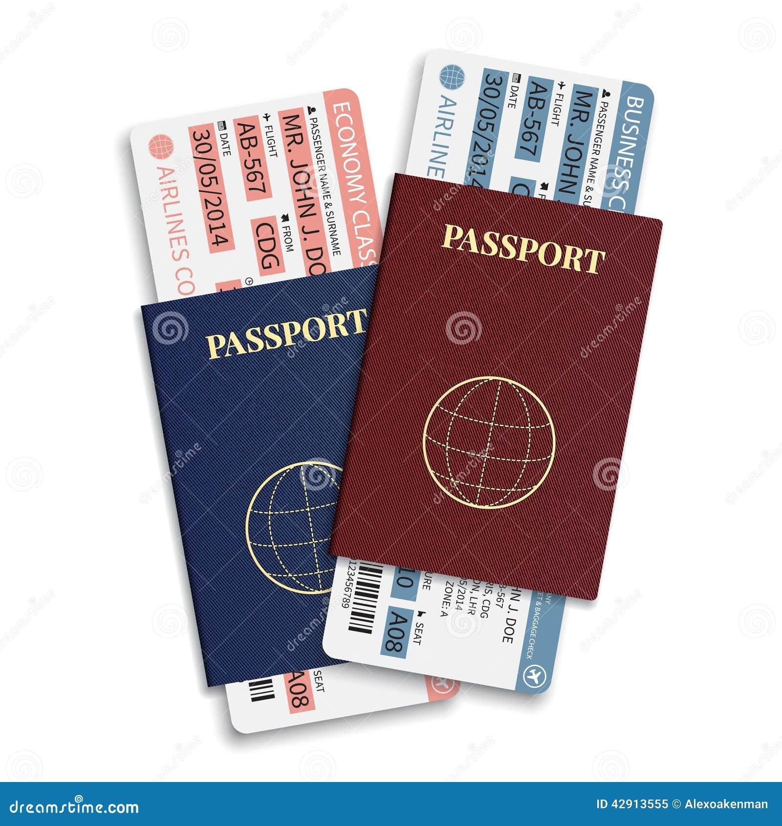 Vector van de luchtvaartlijnpassagier en bagage (instapkaart) kaartjes met streepjescode en internationaal paspoort
