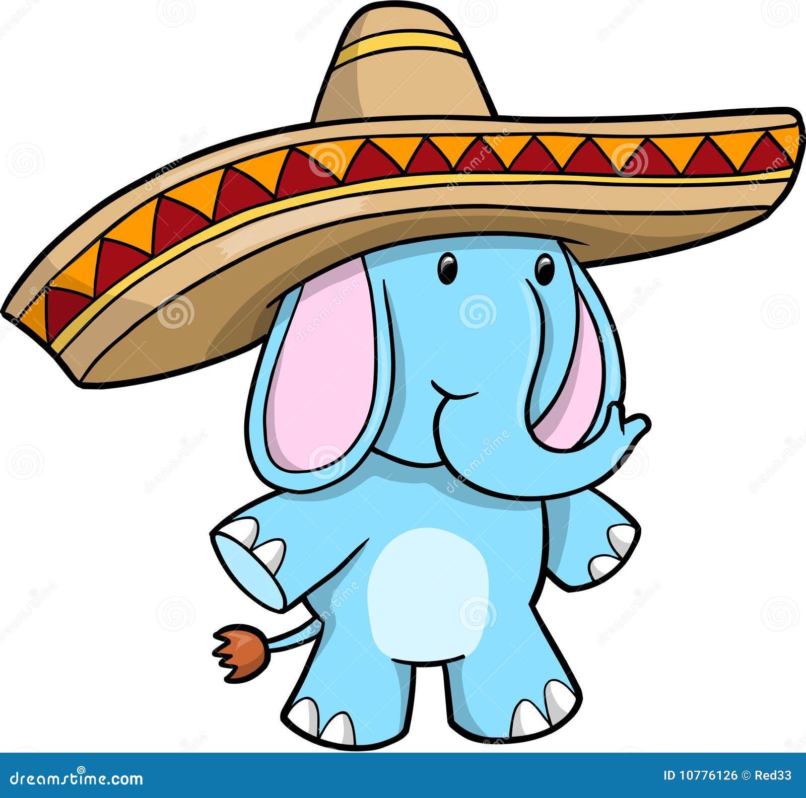 Vector van de Olifant van de sombrero de Blauwe
