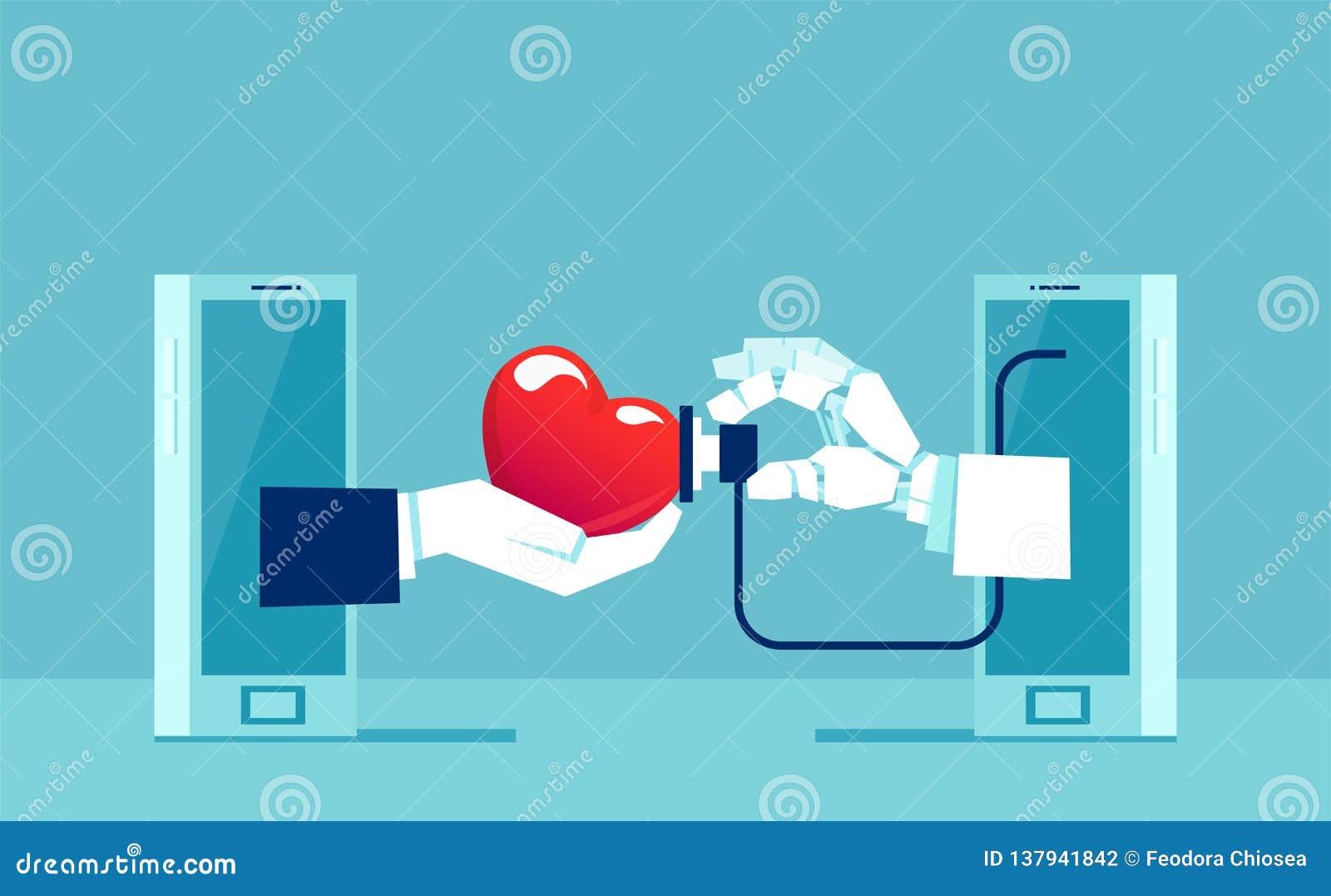 Vector van een hand artsenrobot met stethoscoop die geduldig harttarief op smartphone meten