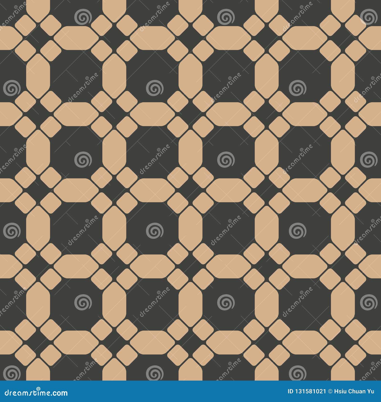 Vector van het damast naadloze retro patroon veelhoek als achtergrond om meetkunde van het kromme de dwarskader Het elegante ontw