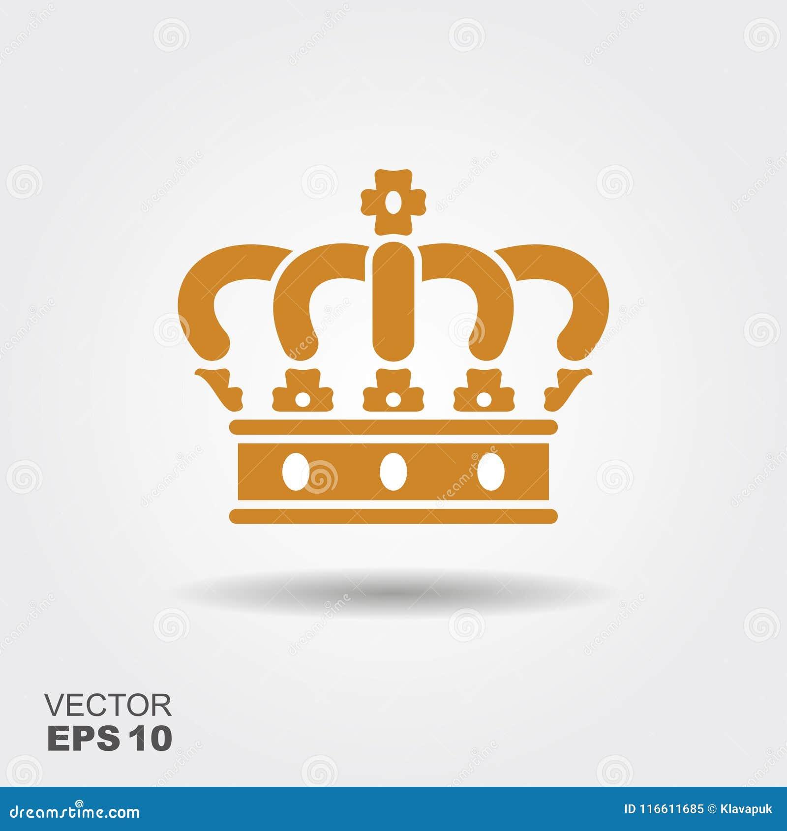 Vector van het kroon de vlakke pictogram
