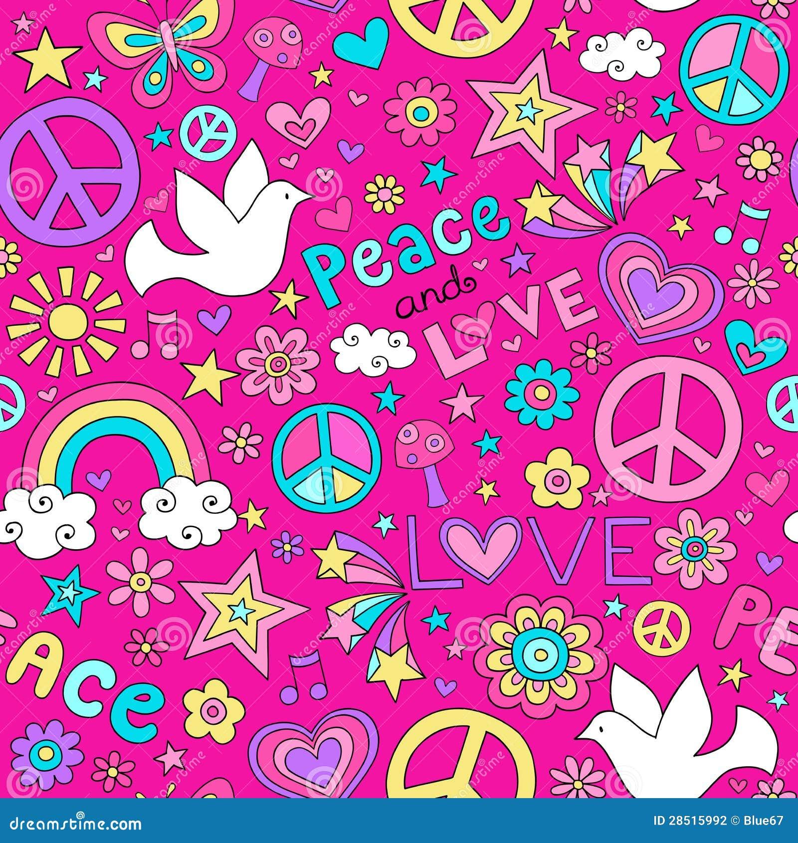Vector van het Patroon van de vrede en van de Liefde de Naadloze