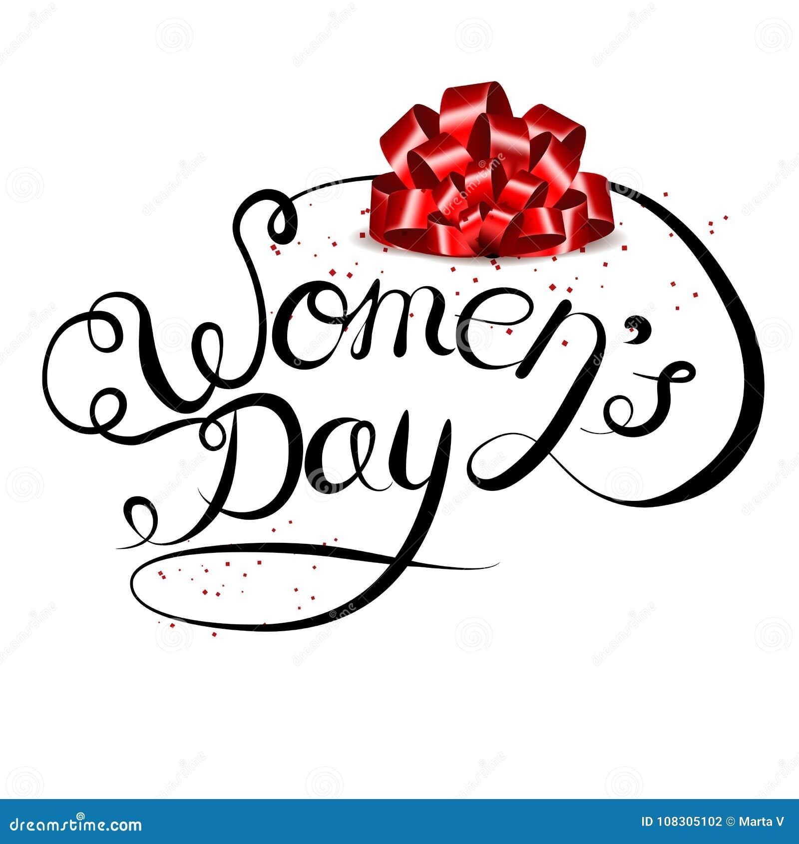 Vector van letters voorziende die hand op een witte achtergrond wordt getrokken Internationale Vrouwens Dag op 8 Maart