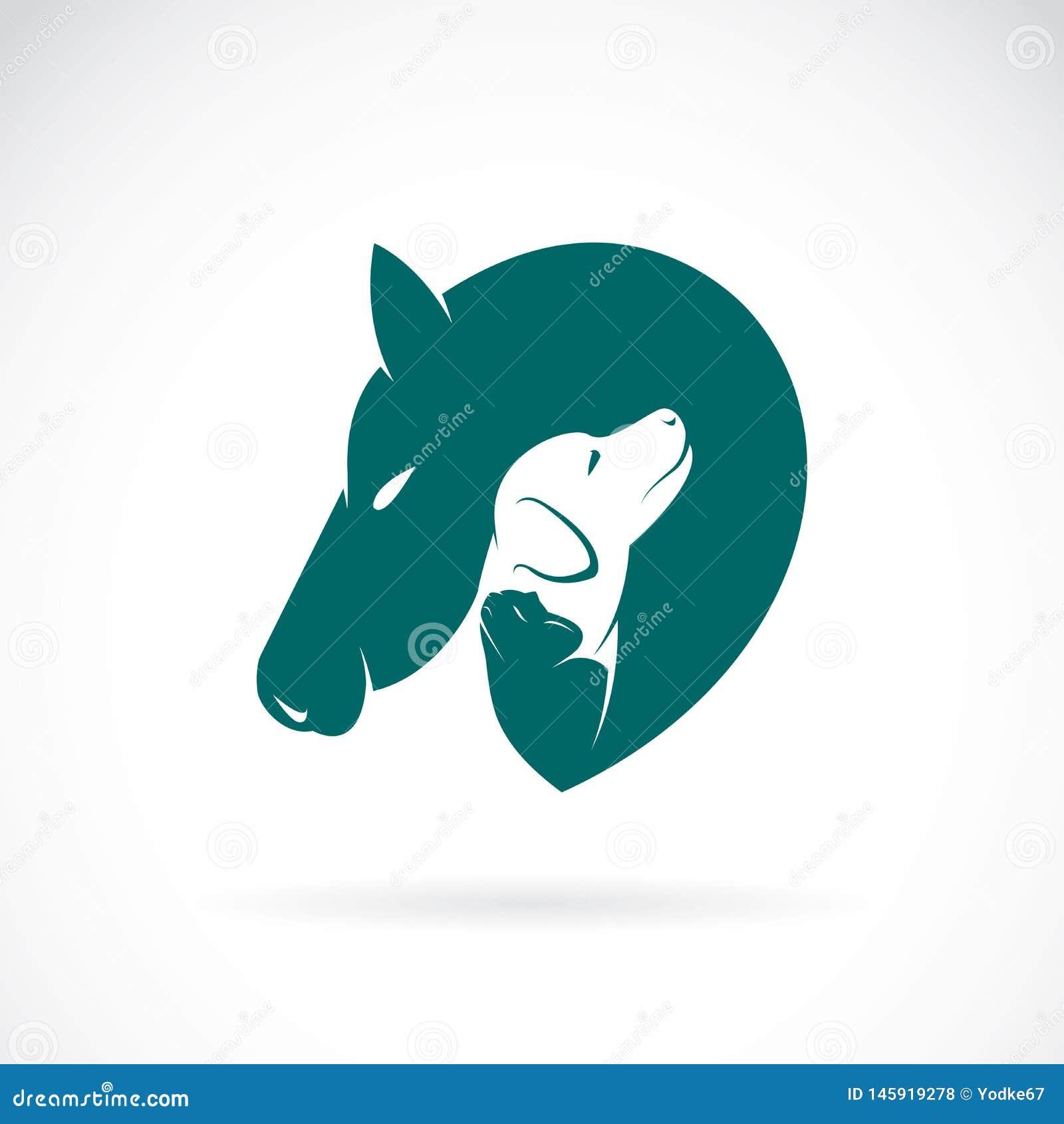 Vector van paard en hond en kat op witte achtergrond Huisdierenembleem of pictogram Gemakkelijke editable gelaagde vectorillustra