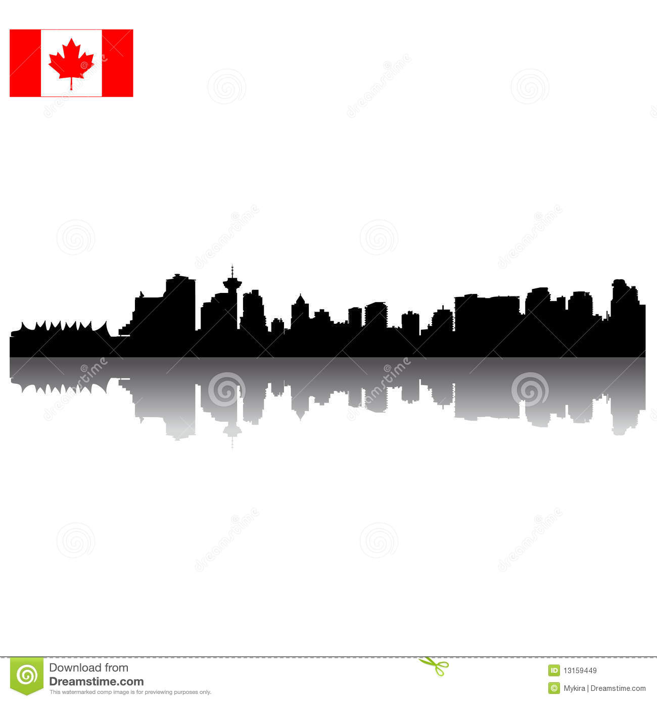 Vector Vancouver silhouette skyline with Canadian