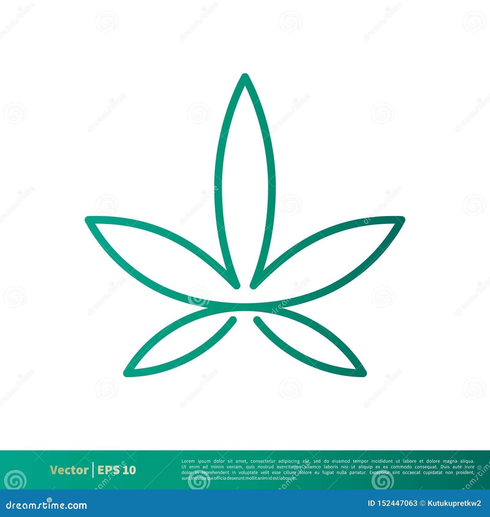 Vector verde Logo Template Illustration Design del icono de la hoja del cáñamo de la marijuana Vector EPS 10