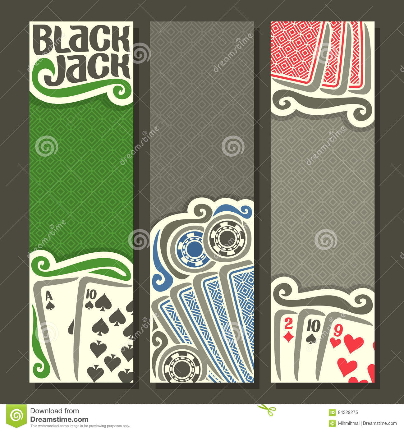 Vector vertical banners Black Jack for text