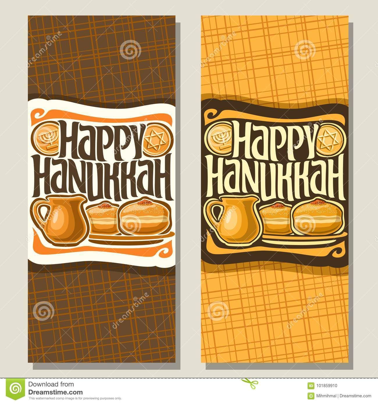 Vector vertical banners for hanukkah stock vector illustration of vector vertical banners for hanukkah holiday greeting cards with chocolate gelt coins oil jug sufganiyot doughnuts on plate original decorative font m4hsunfo