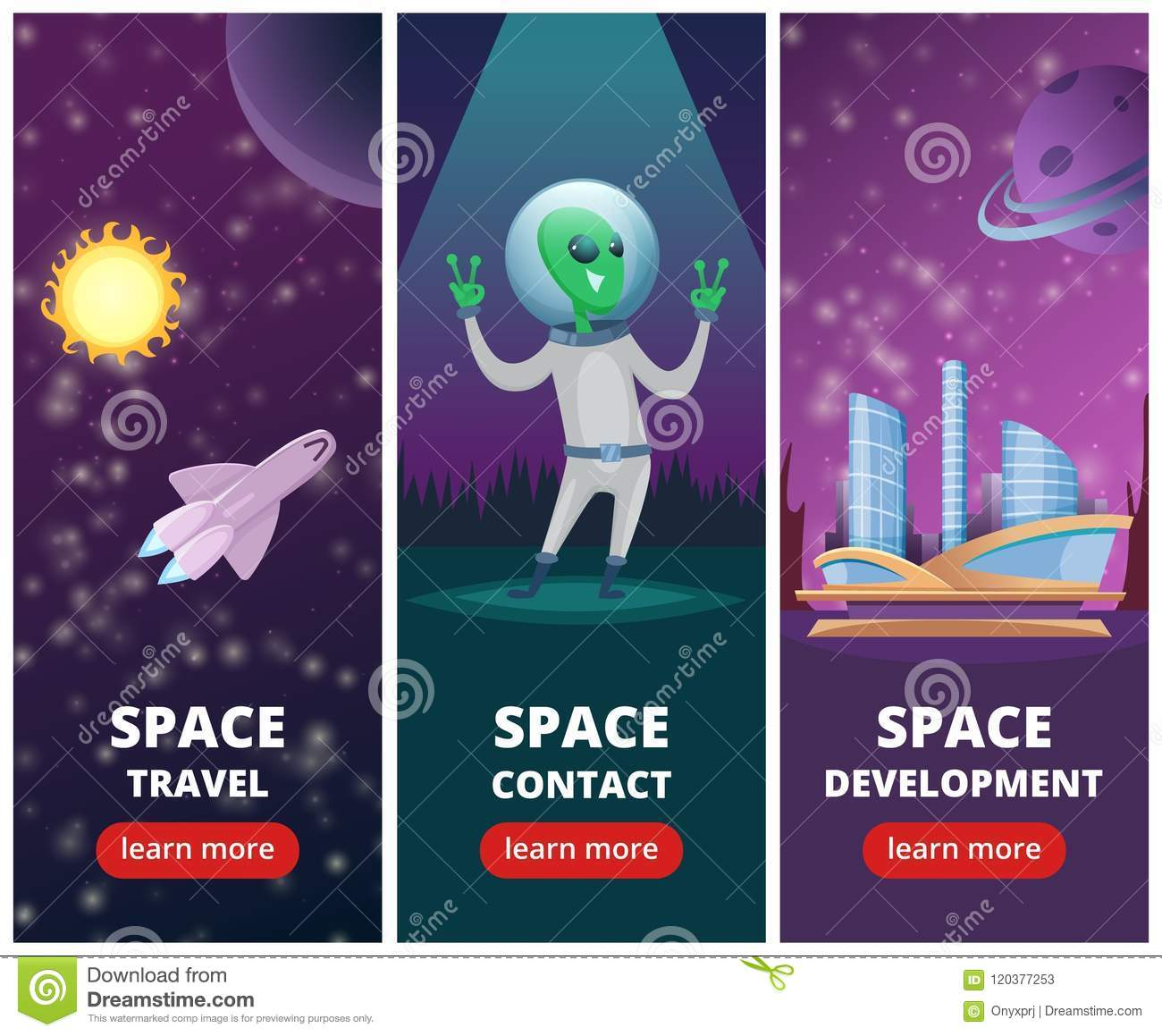 Vector Vertical Banners With Pictures Of Space Backgrounds