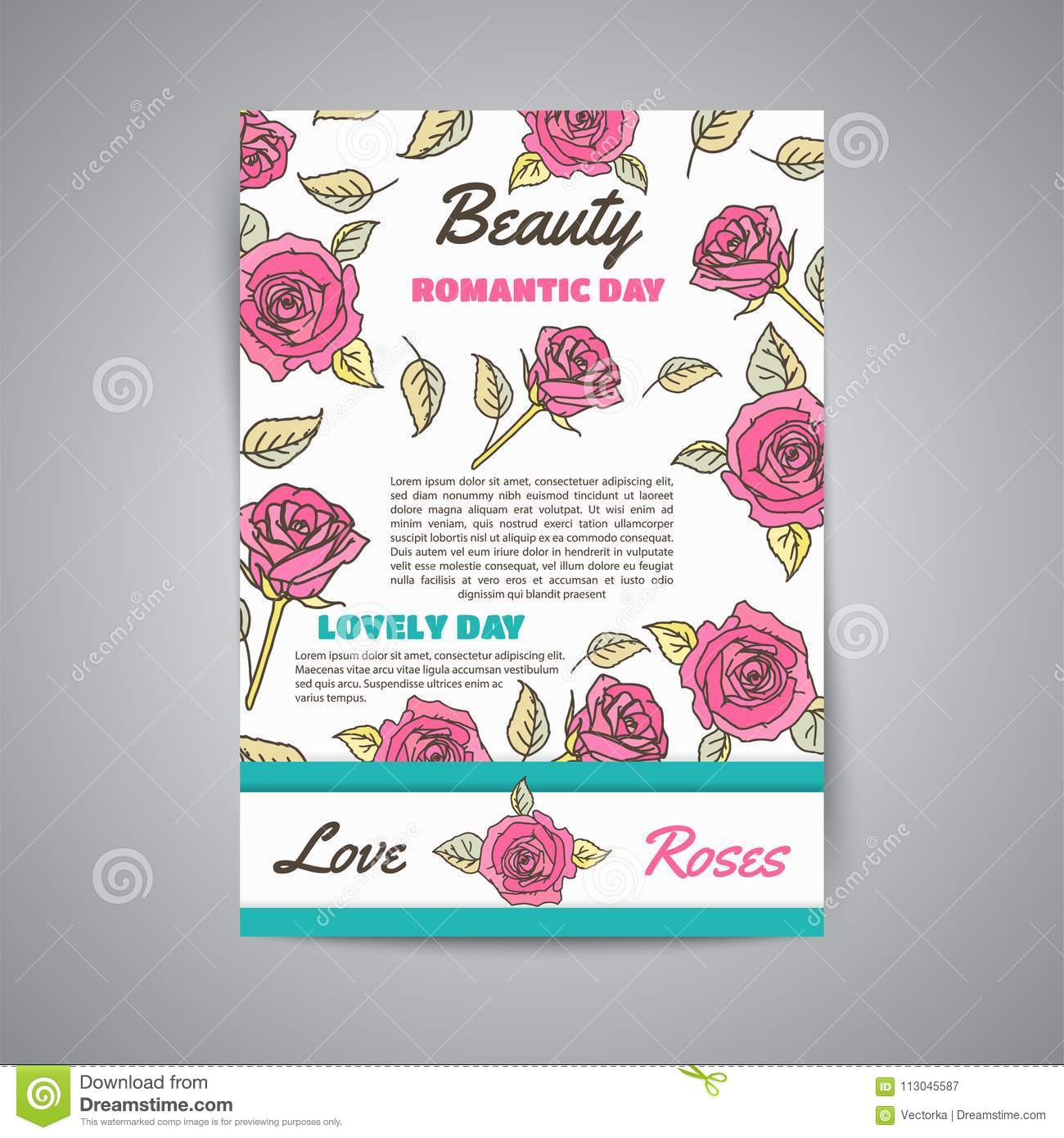 Vector Vertical Poster Template With Roses  Business Floral